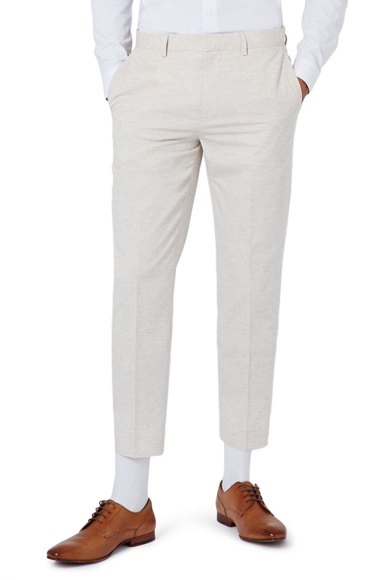 Topman Skinny Fit Marled Suit Trousers