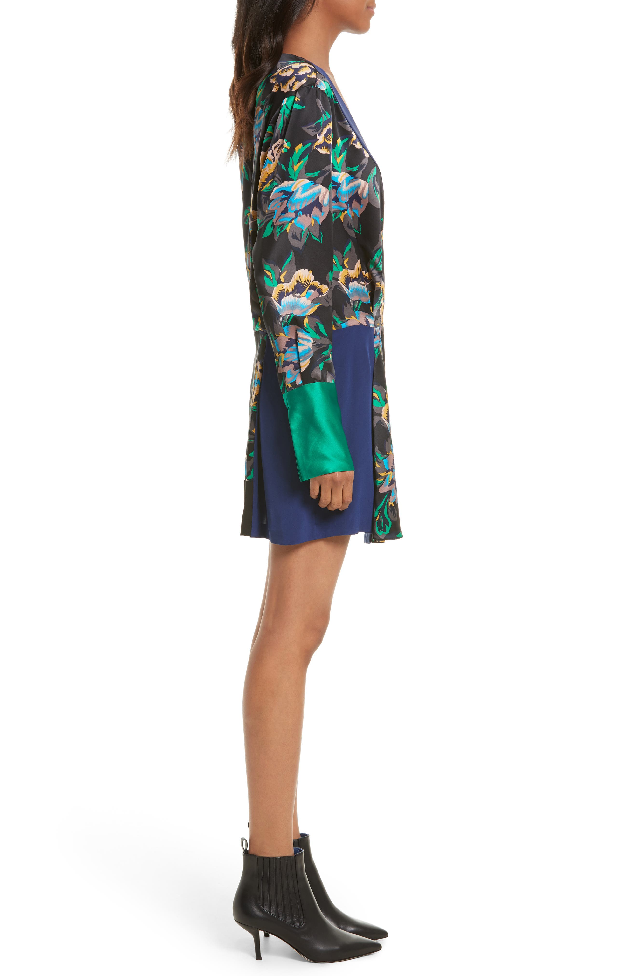 Mixed Media Crossover Silk Dress,                             Alternate thumbnail 3, color,                             Benton Blue/ Evergreen