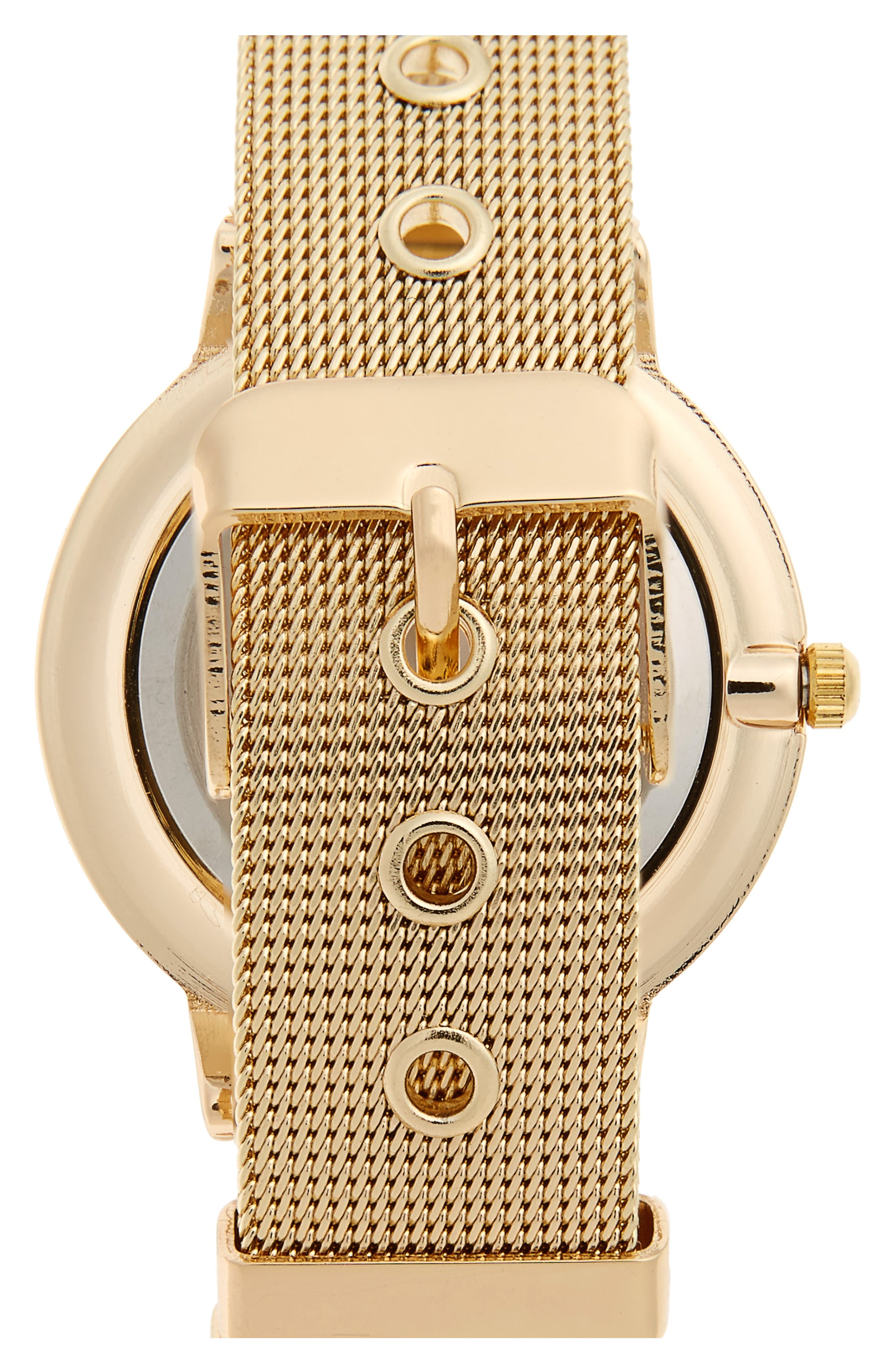 Mesh Strap Watch,                             Alternate thumbnail 2, color,                             Gold/ White Marble