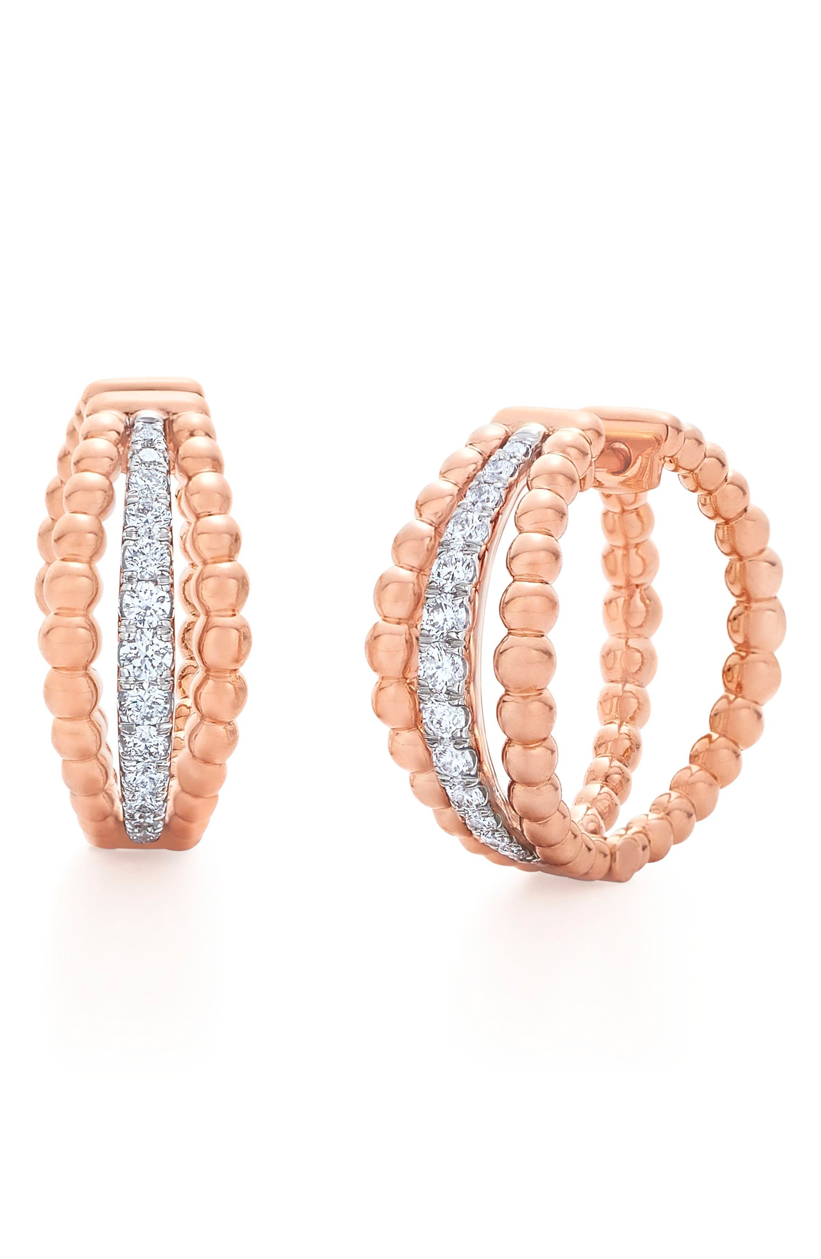 Beaded Multirow Diamond Hoop Earrings,                         Main,                         color, Rose Gold