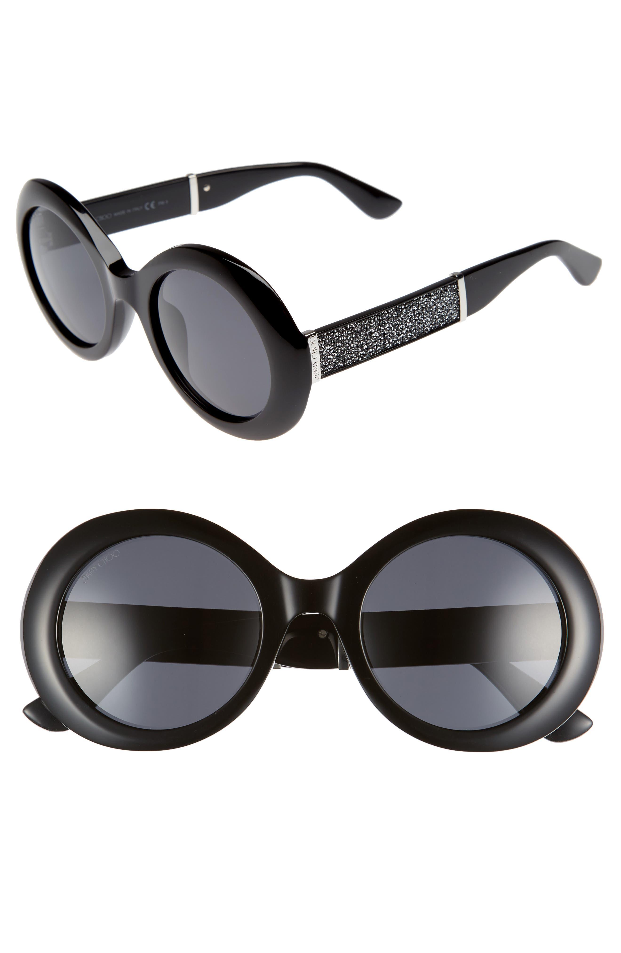 Wendy 51mm Round Sunglasses,                             Main thumbnail 1, color,                             Black/ Glitter/ Black