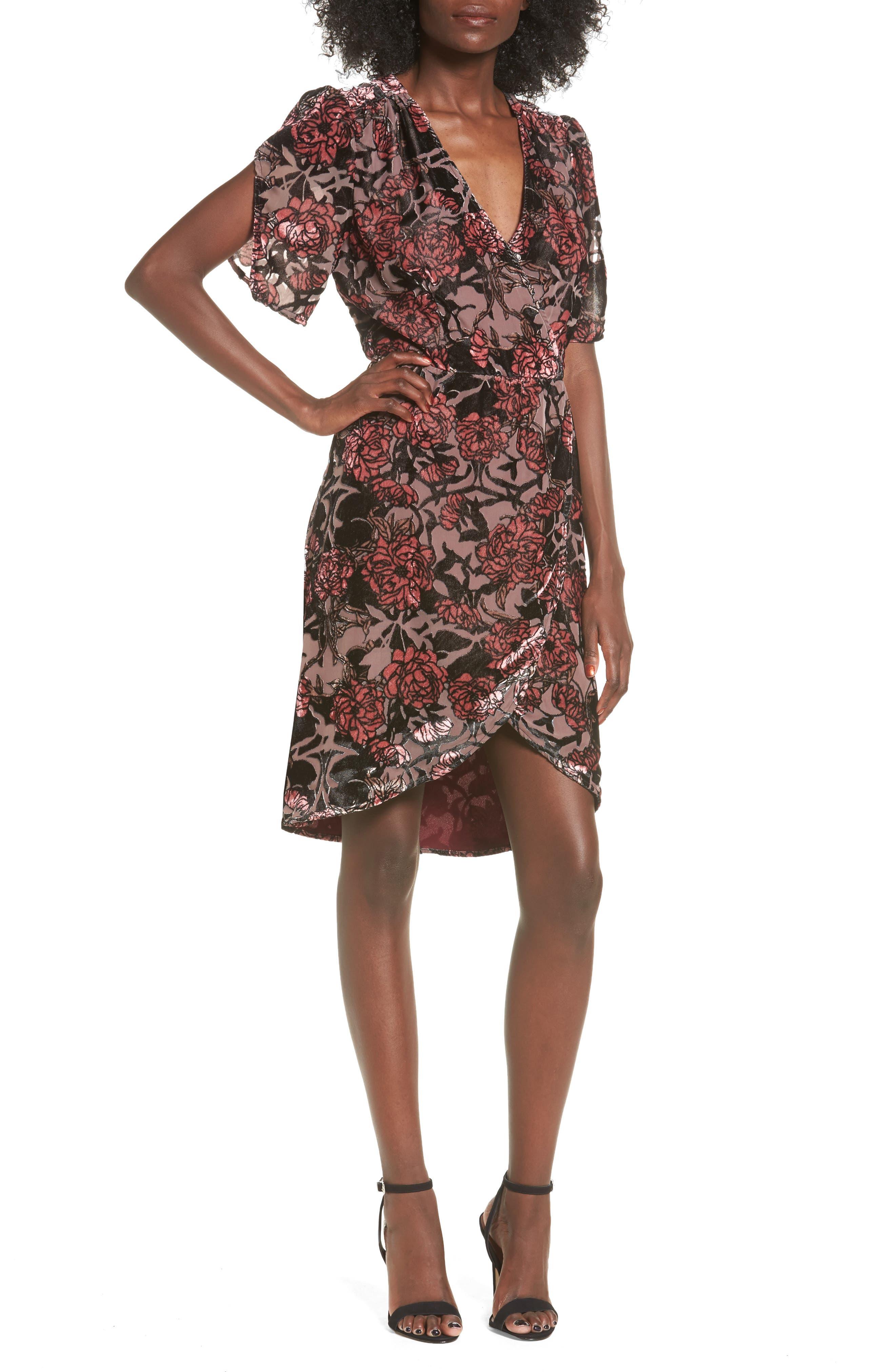 Burnout Velvet A-Line Dress,                         Main,                         color, Black Burnout