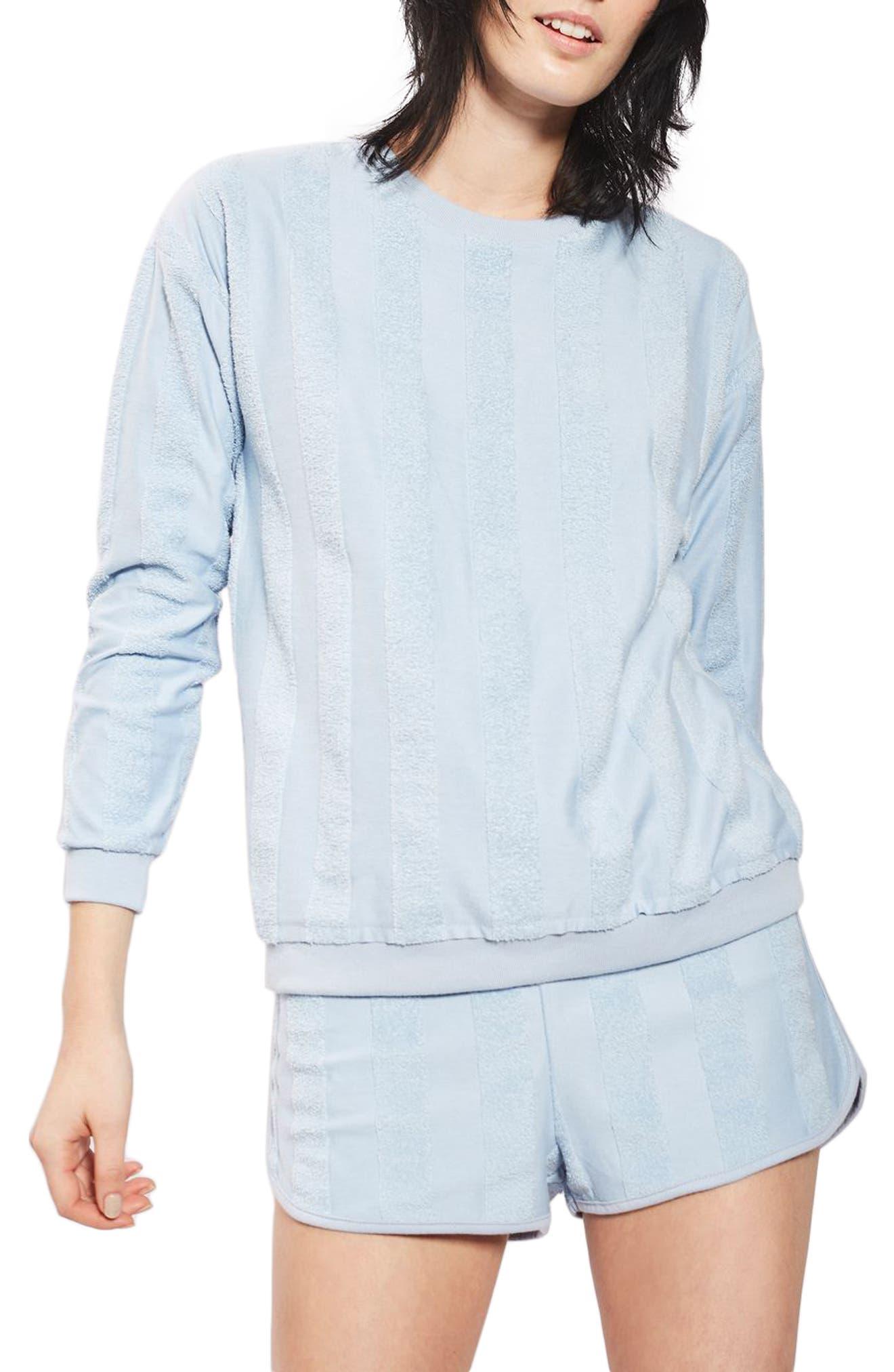 Towel Stripe Lounge Sweatshirt,                         Main,                         color, Light Blue
