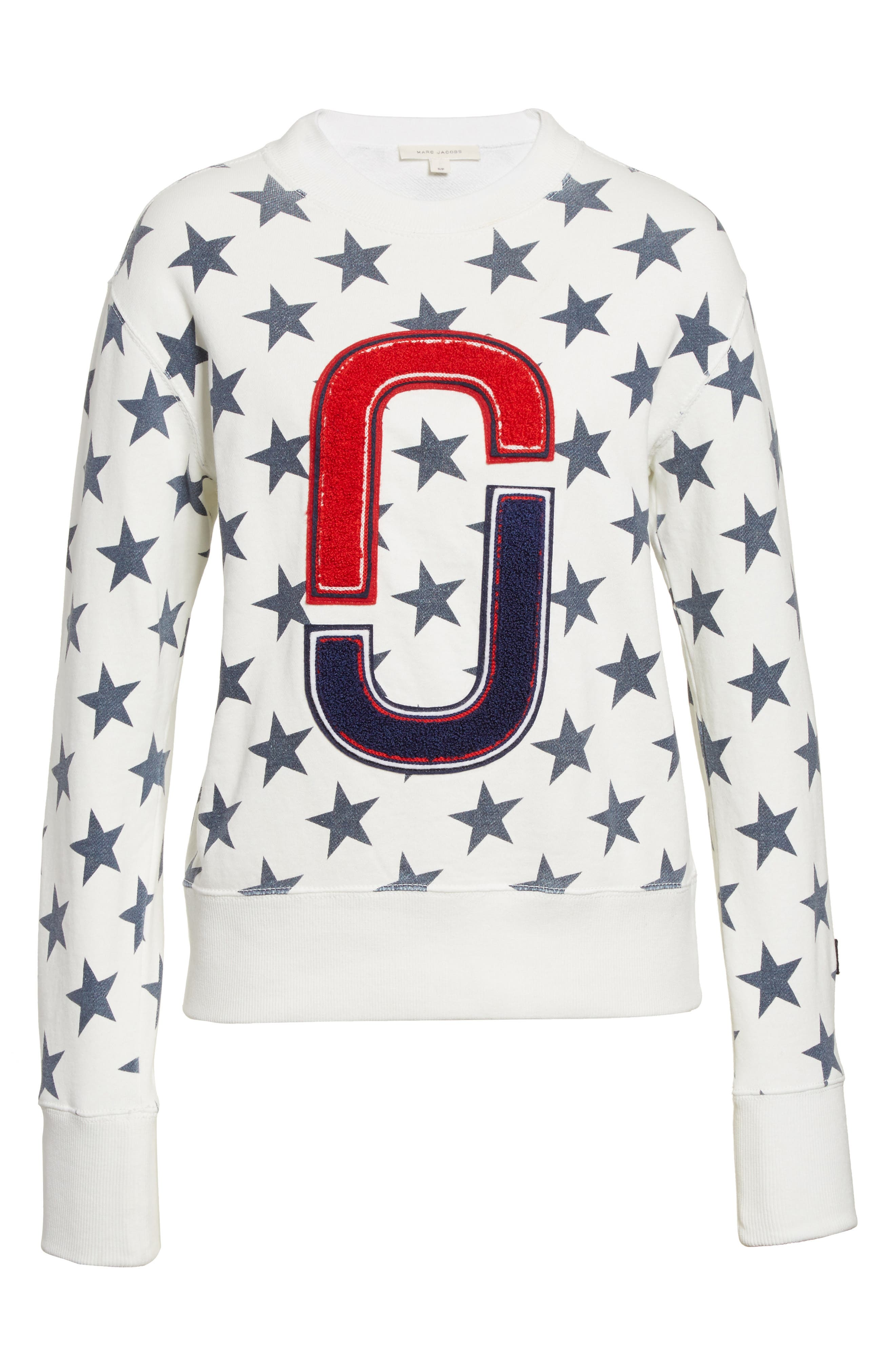 '90s Star Print Sweatshirt,                             Alternate thumbnail 4, color,                             Ivory Multi