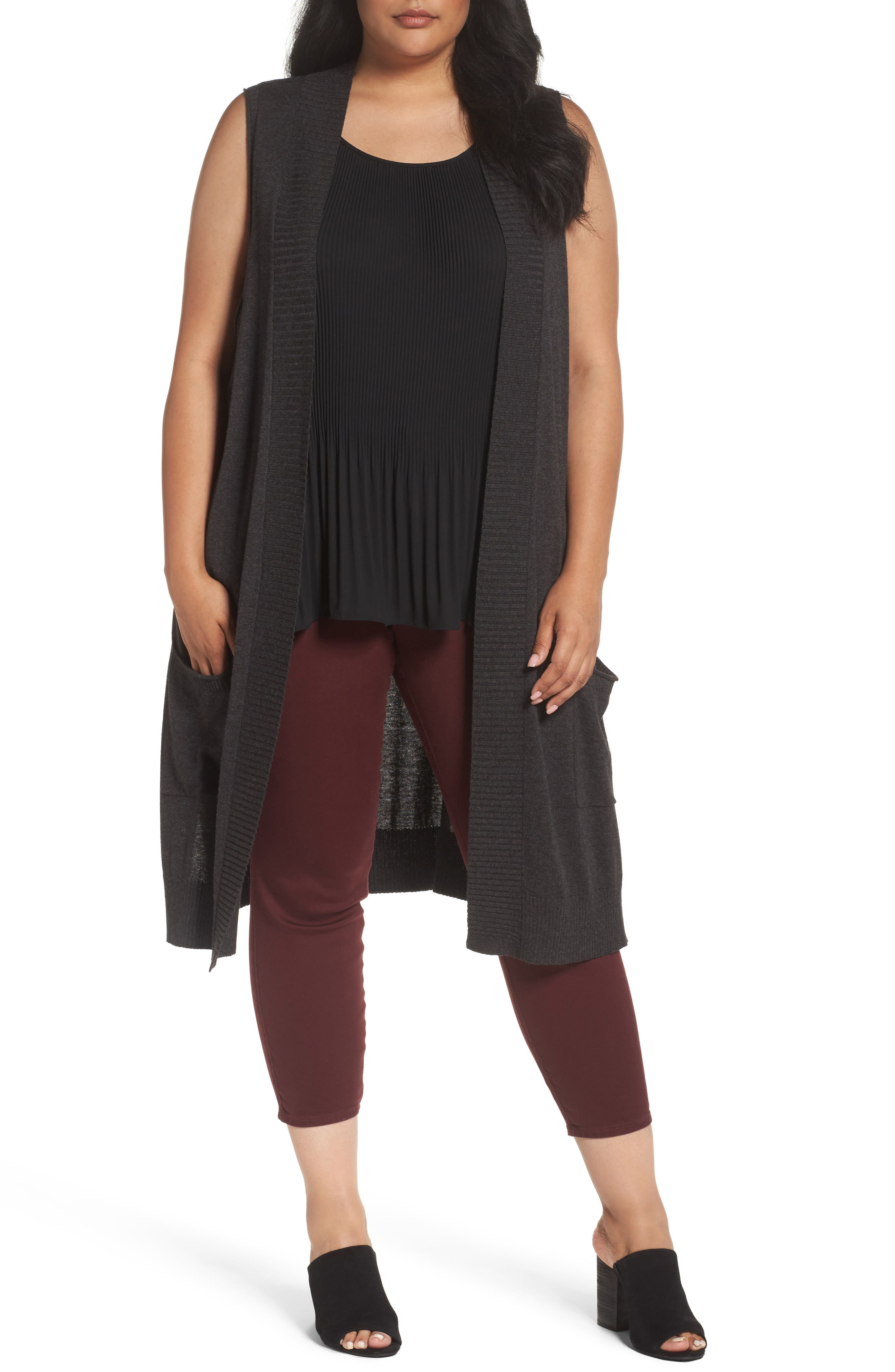 Sejour Long Sweater Vest (Plus Size)