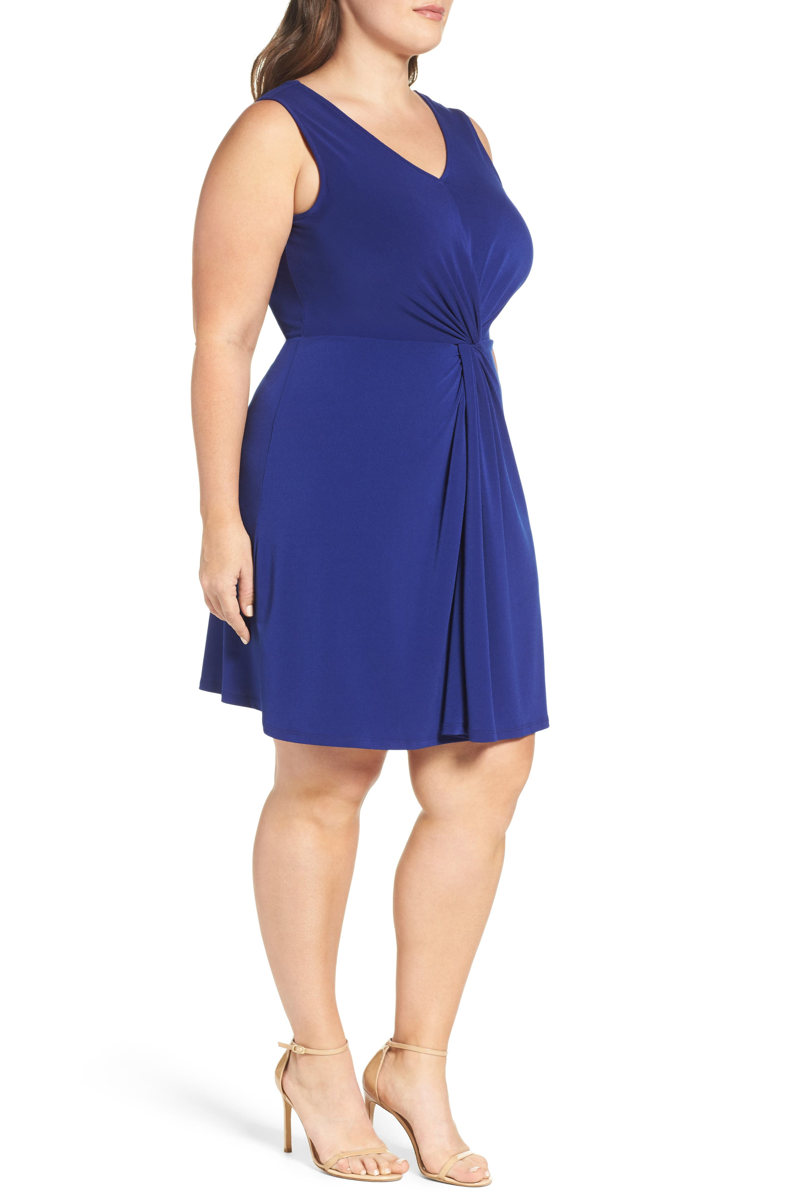 Twist Front Jersey Dress,                             Alternate thumbnail 3, color,                             Navy Crepe
