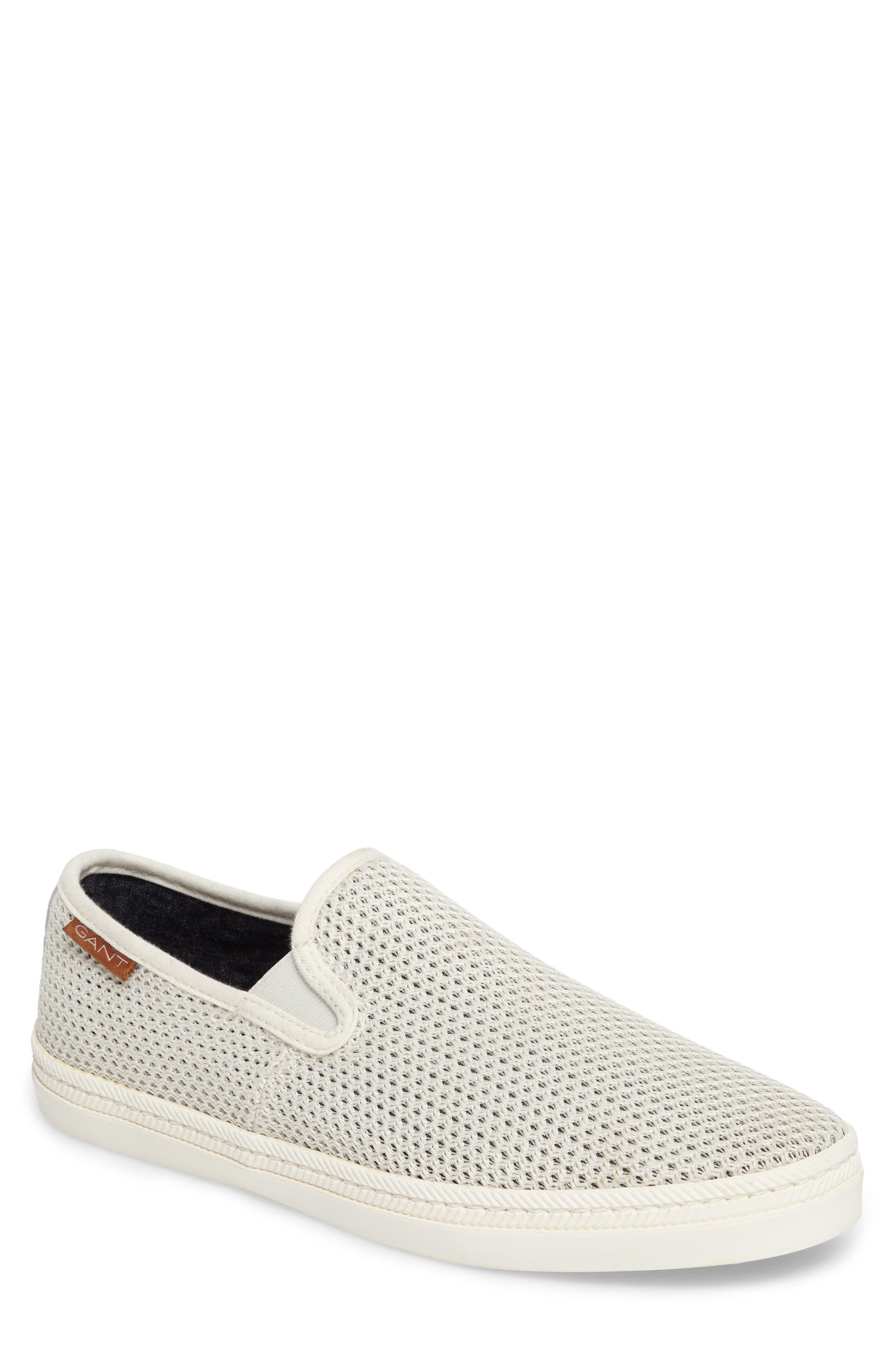 Delray Woven Slip-On Sneaker,                             Main thumbnail 1, color,                             Bone Beige Fabric