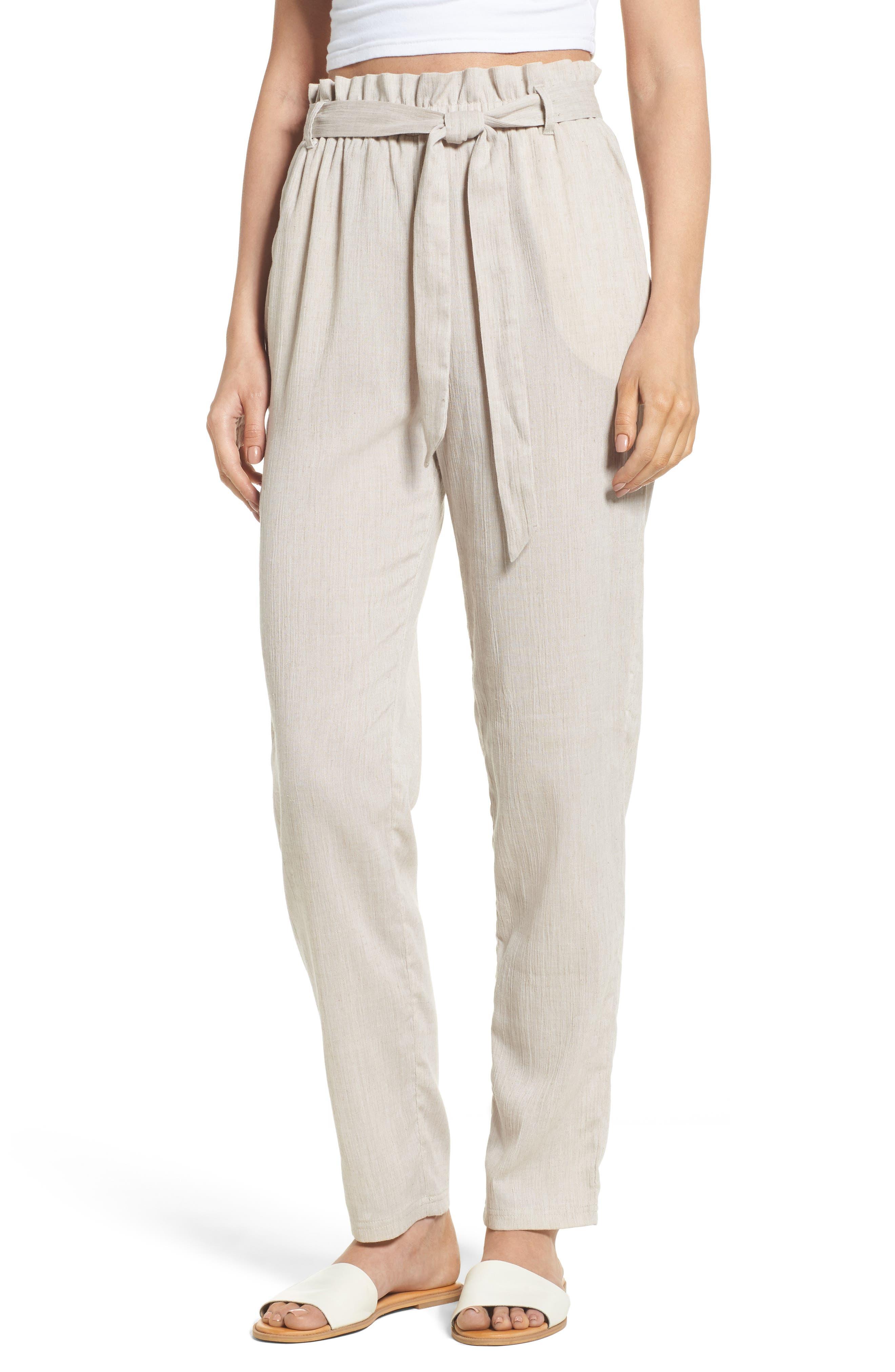 Tie Front Pants,                         Main,                         color, Tan
