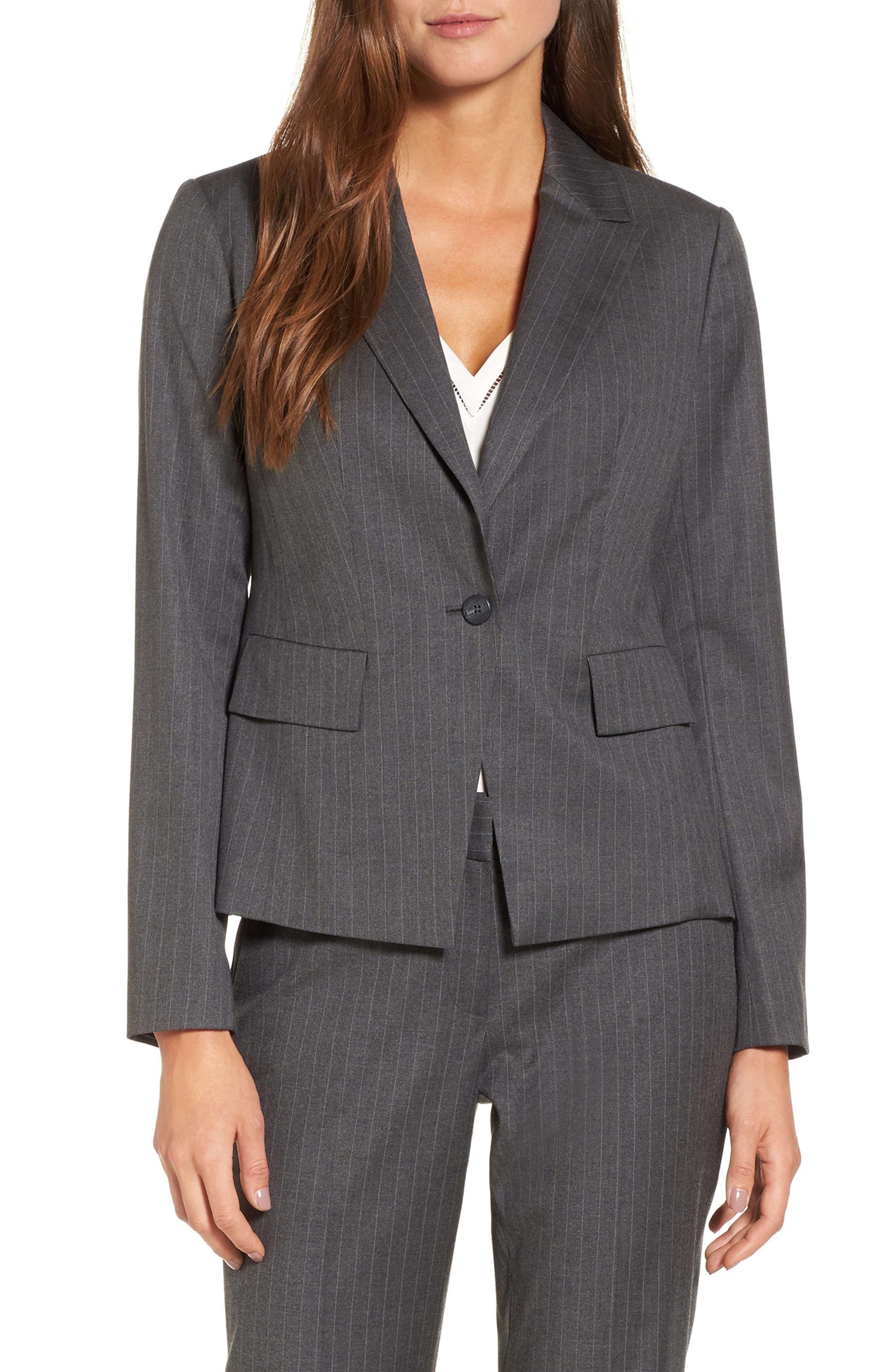 Halogen® Pinstripe One-Button Suit Jacket (Regular & Petite)