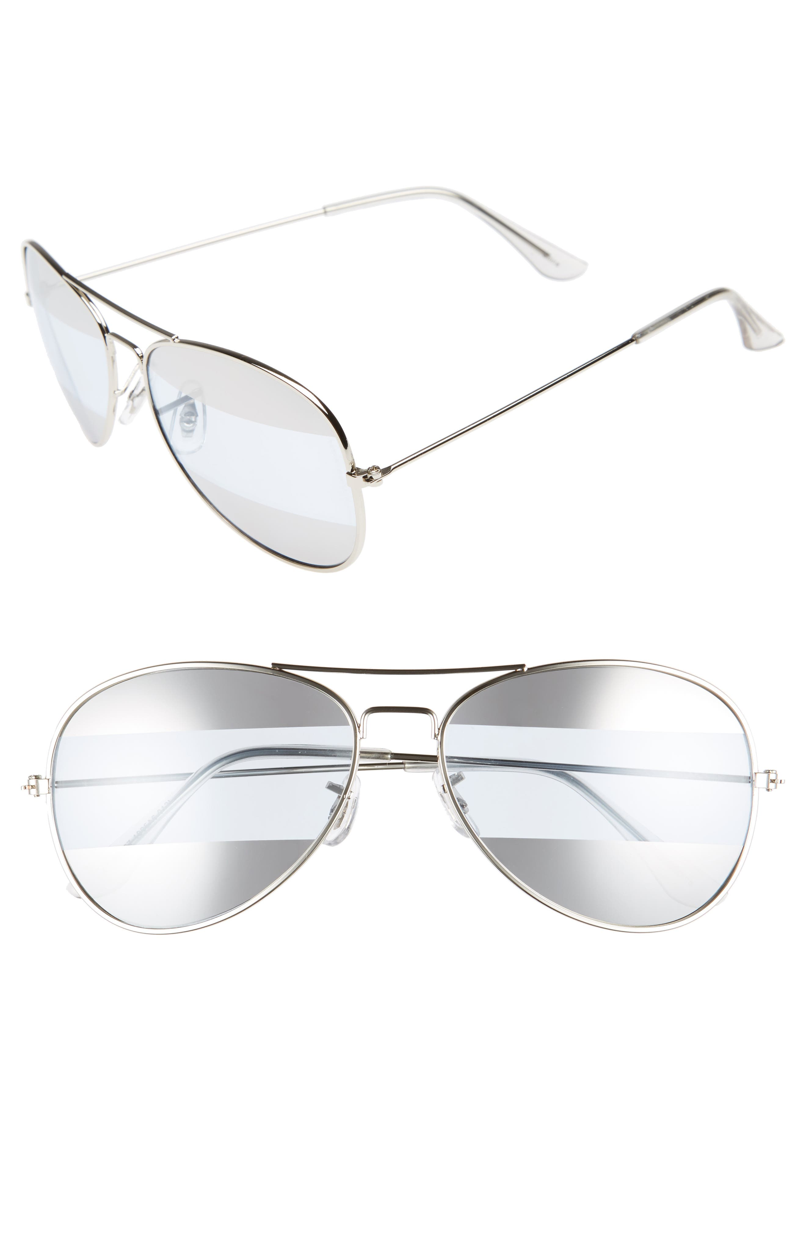 BP. 60mm Tri-Tone Metal Aviator Sunglasses