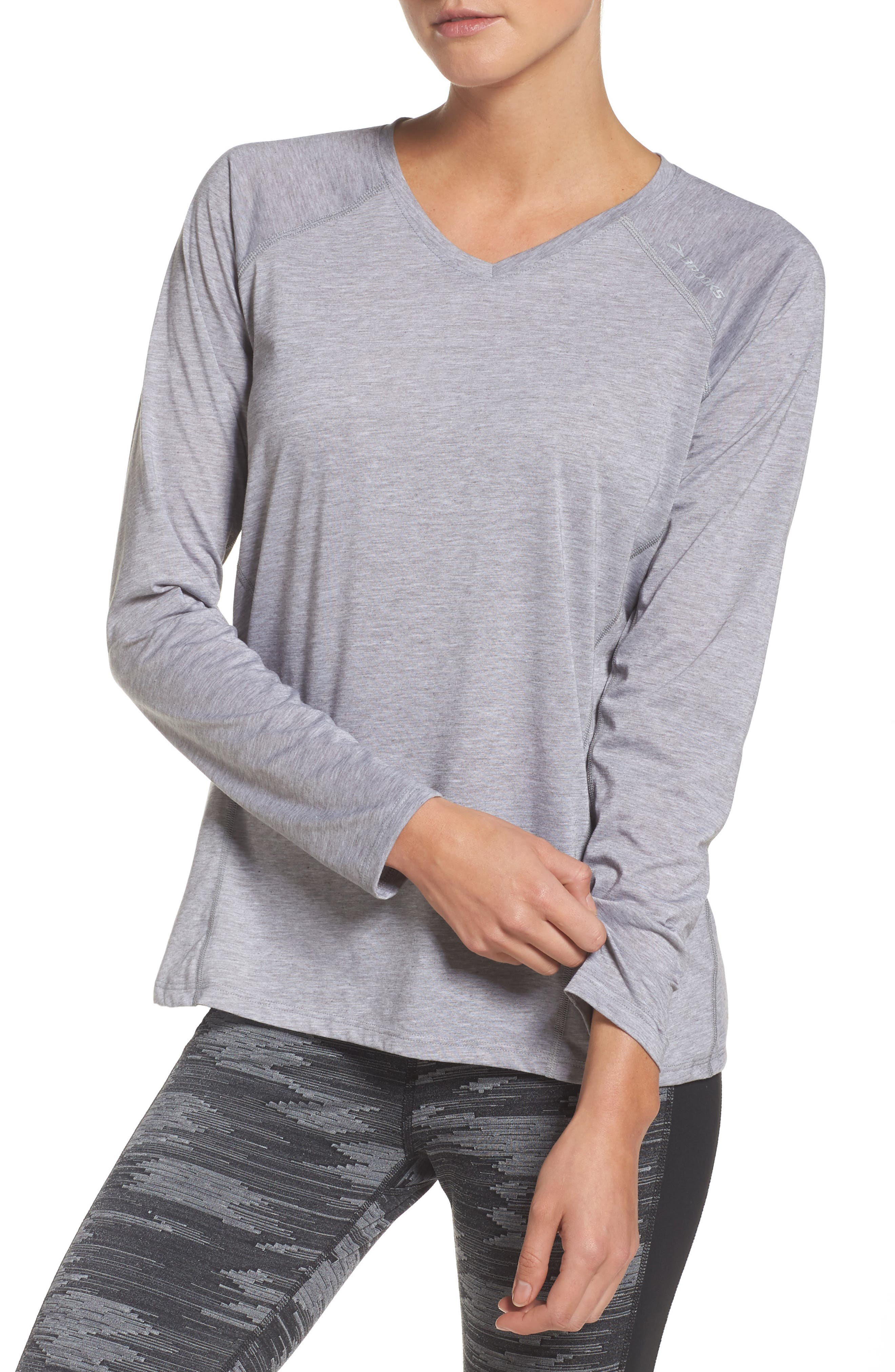 Distance Long Sleeve Running Tee,                         Main,                         color, Heather Sterling