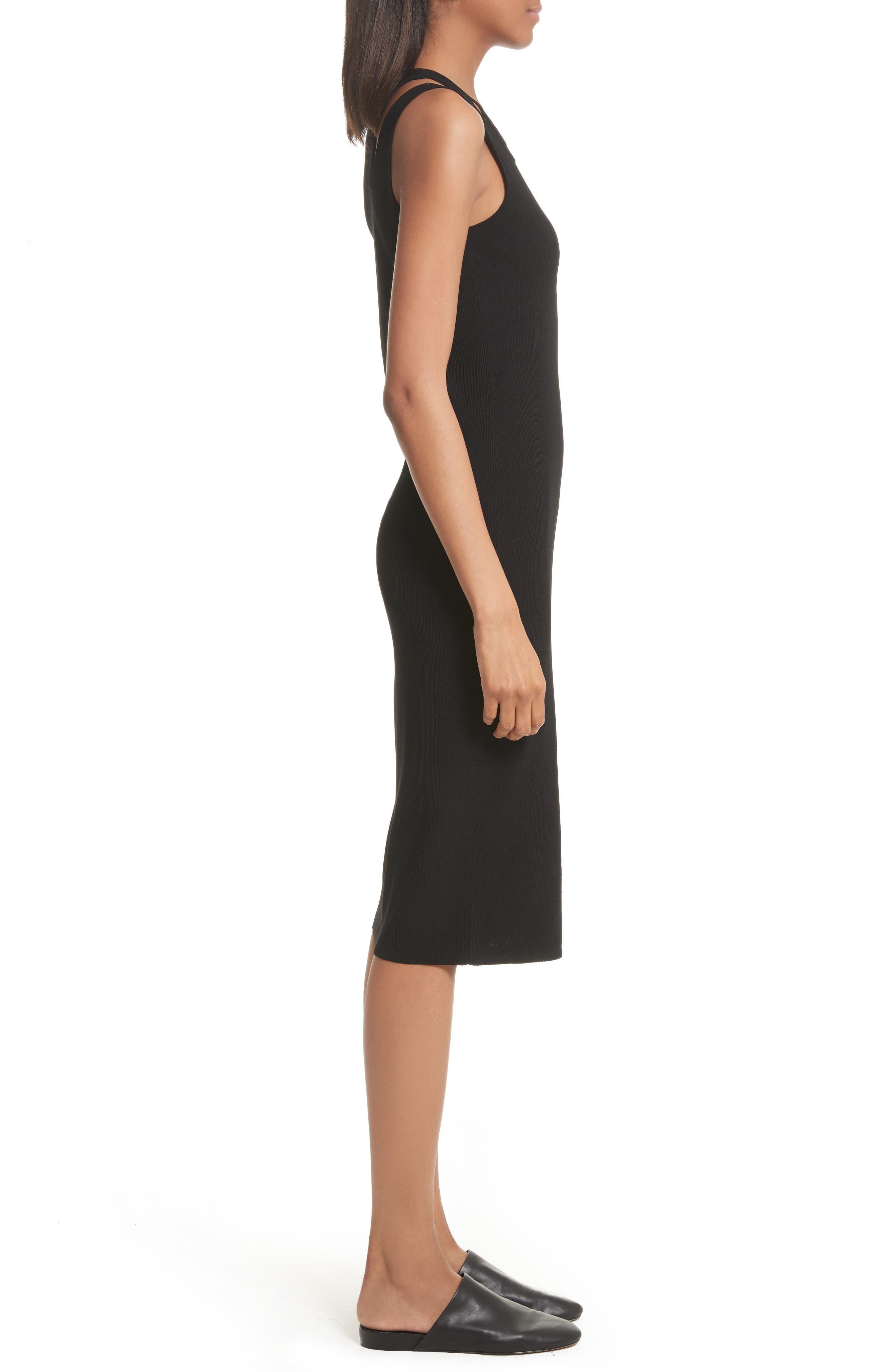 Slash Rib Knit Dress,                             Alternate thumbnail 3, color,                             Black