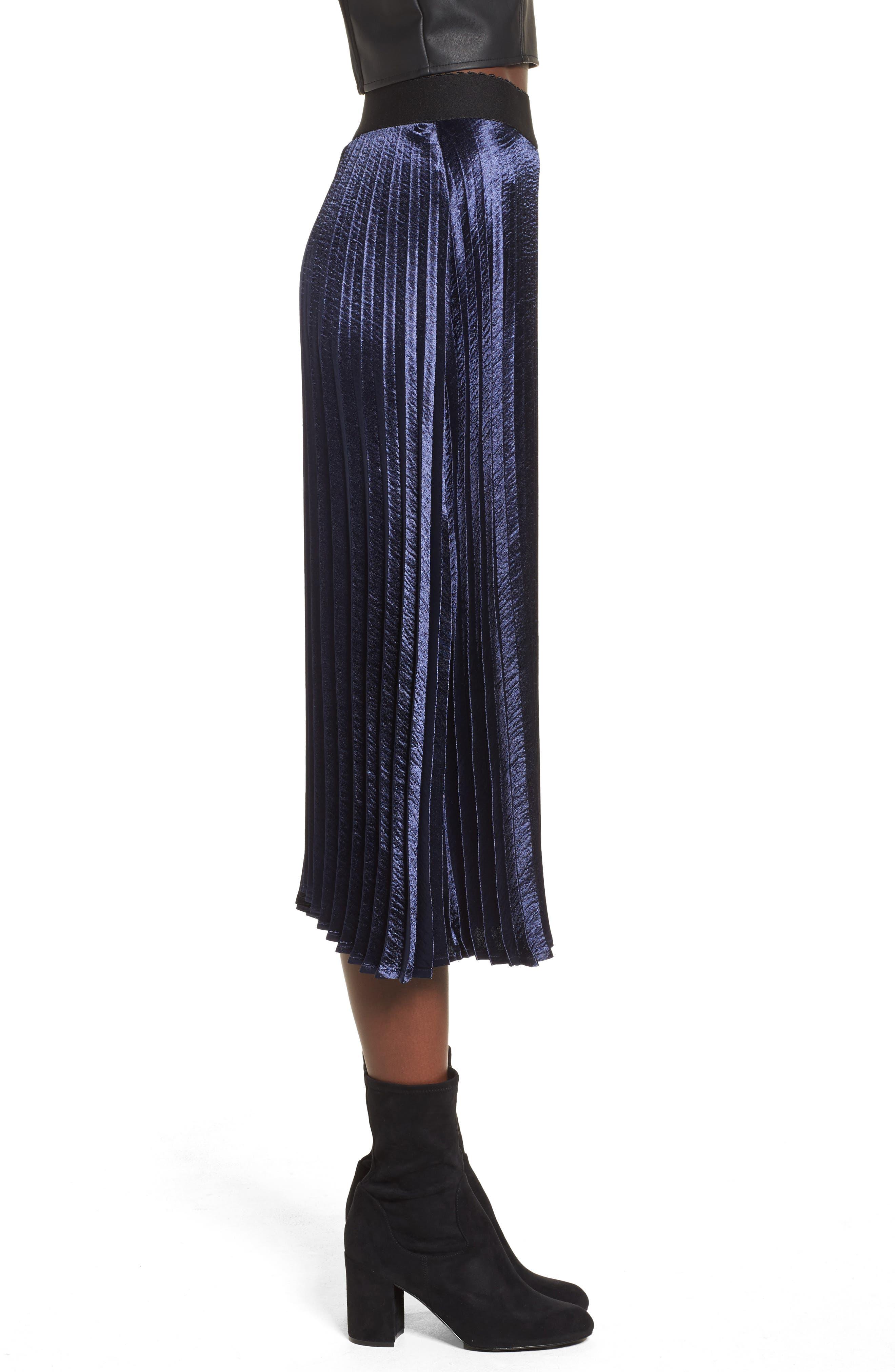 Pleated Satin Midi Skirt,                             Alternate thumbnail 3, color,                             Navy