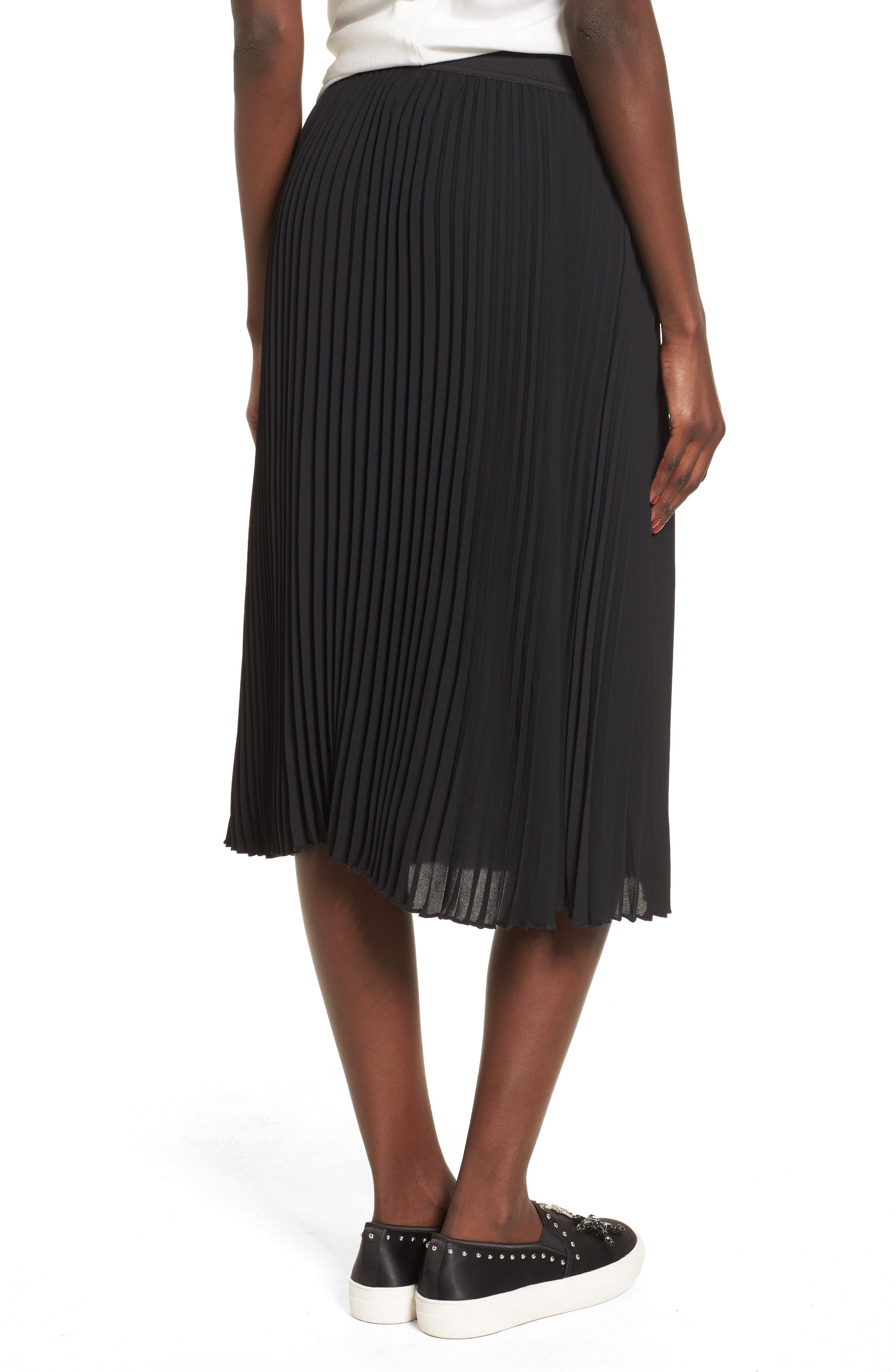 Pleated Midi Skirt,                             Alternate thumbnail 2, color,                             Black