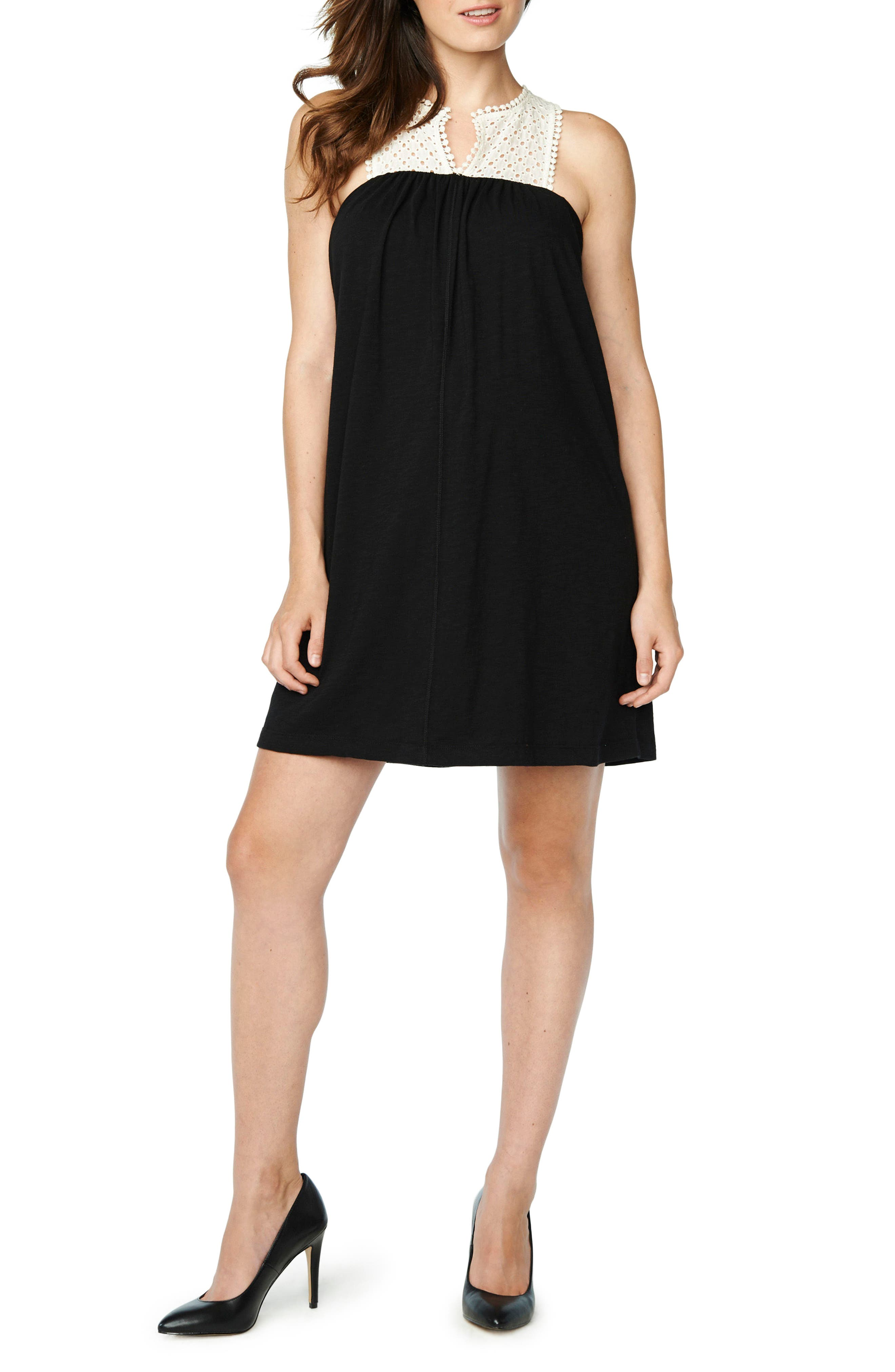 Naomi Eyelet Yoke Maternity Dress,                             Main thumbnail 1, color,                             Cream/ Black