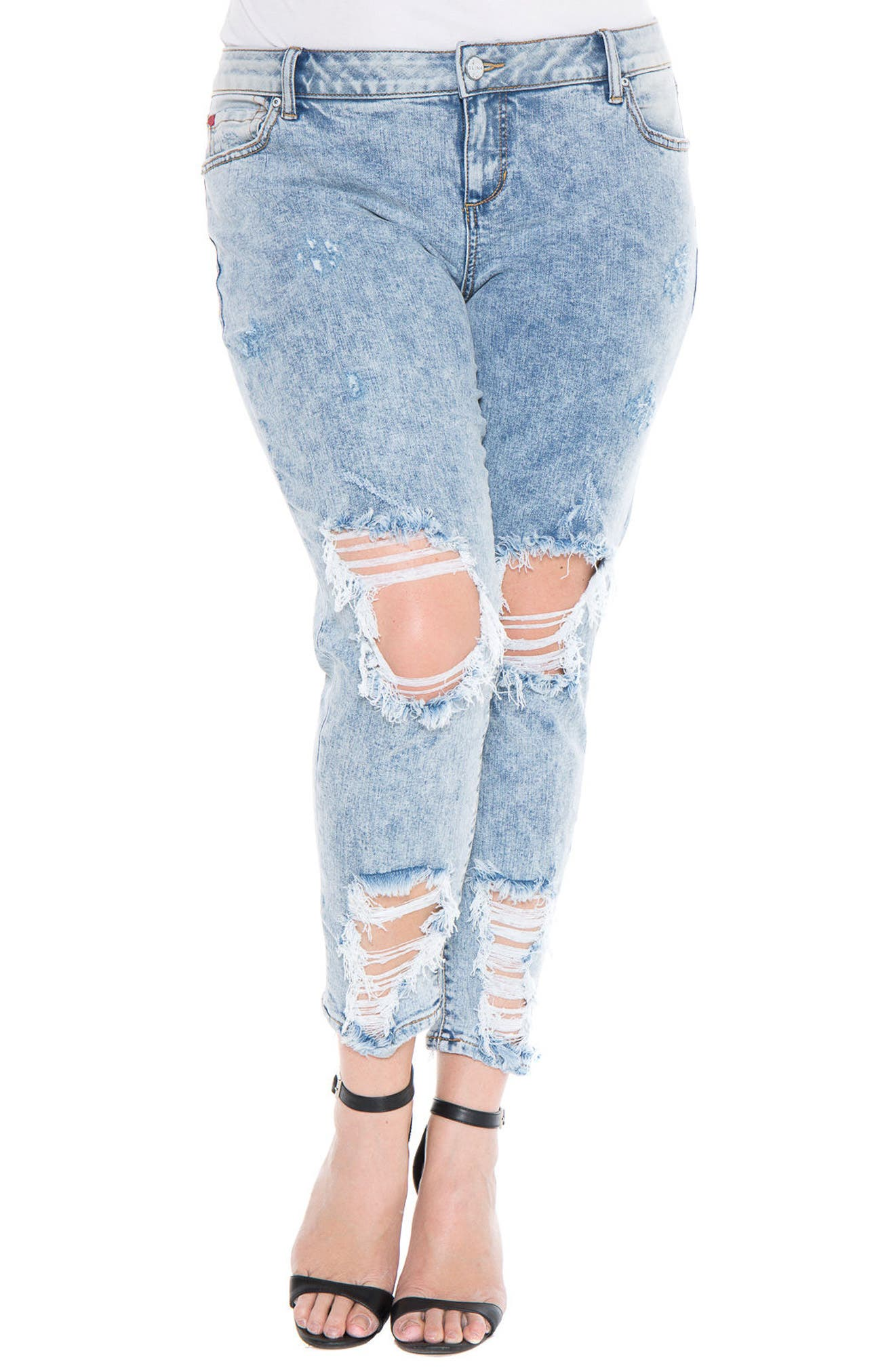 Alternate Image 1 Selected - SLINK Jeans Destroyed Boyfriend Jeans (Amelia) (Plus Size)