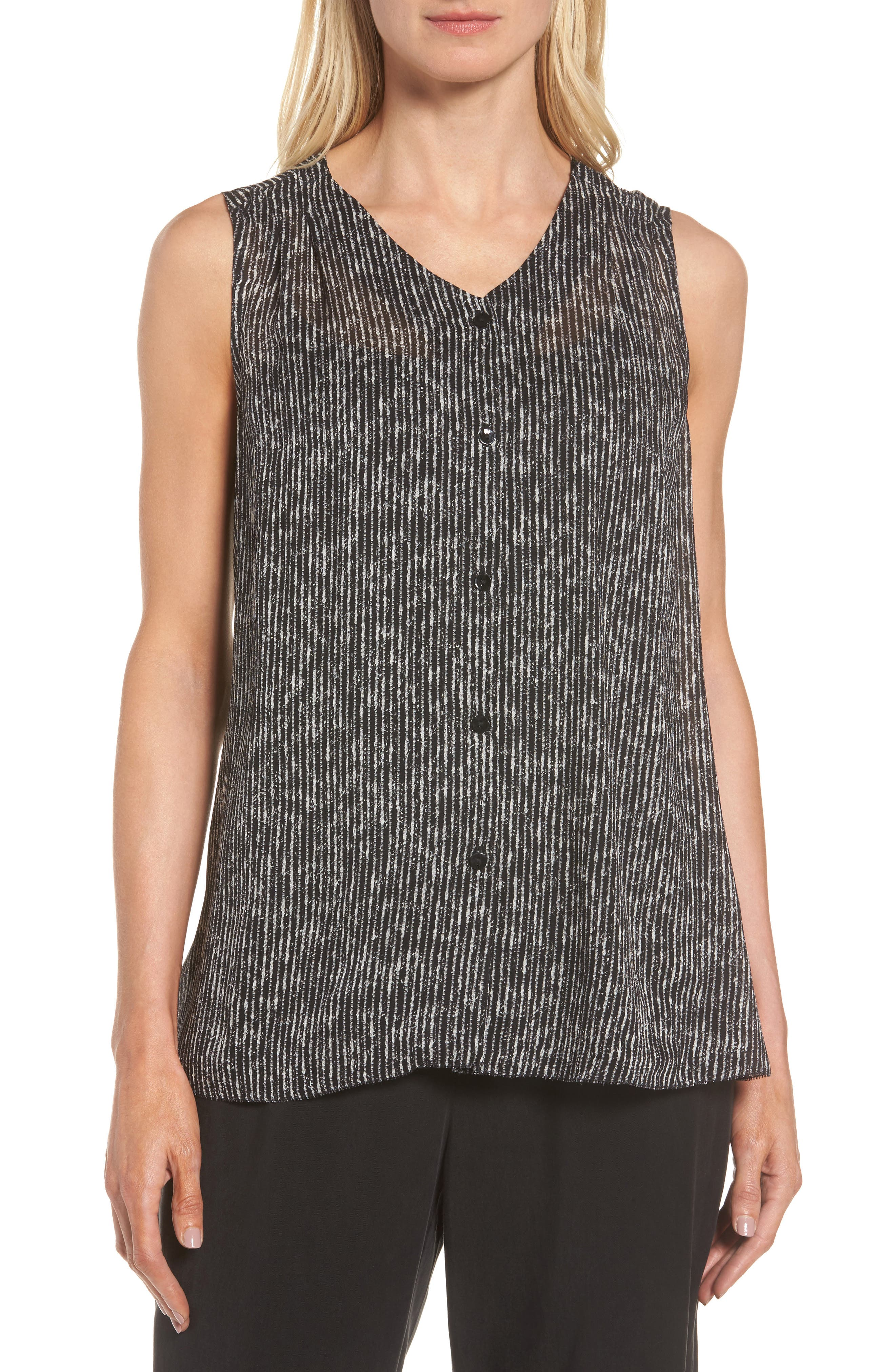 Alternate Image 1 Selected - Eileen Fisher Print Silk Tank