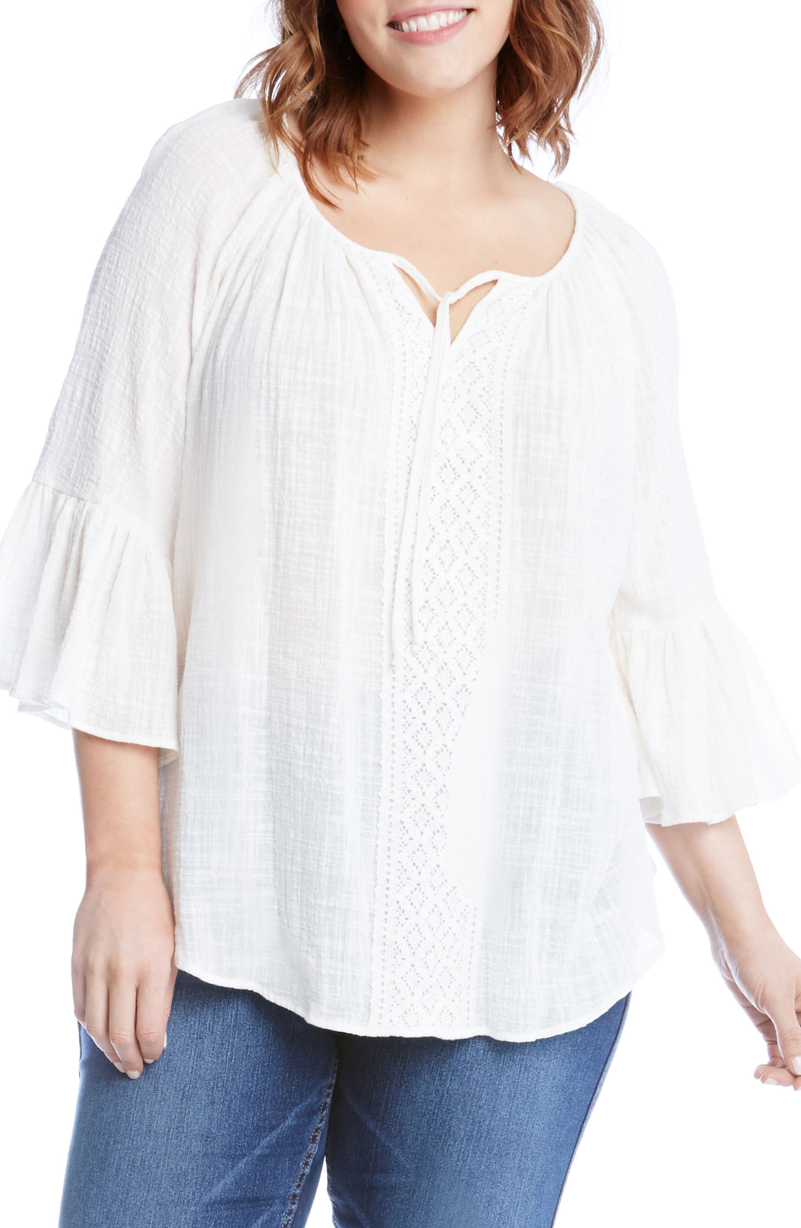 Bell Sleeve Top,                         Main,                         color, Off White