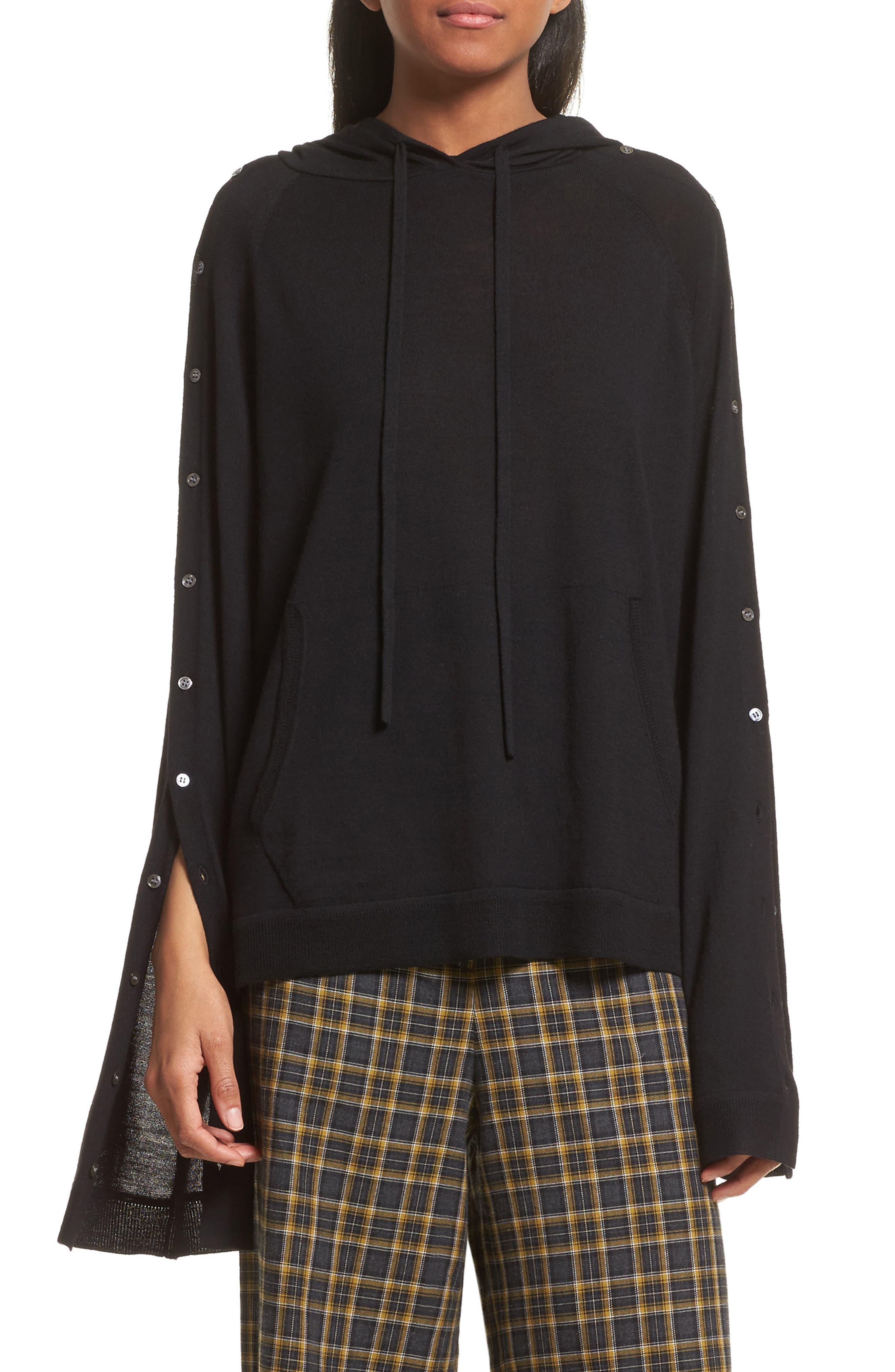 Merino Wool Reversible Hoodie,                             Main thumbnail 1, color,                             Black