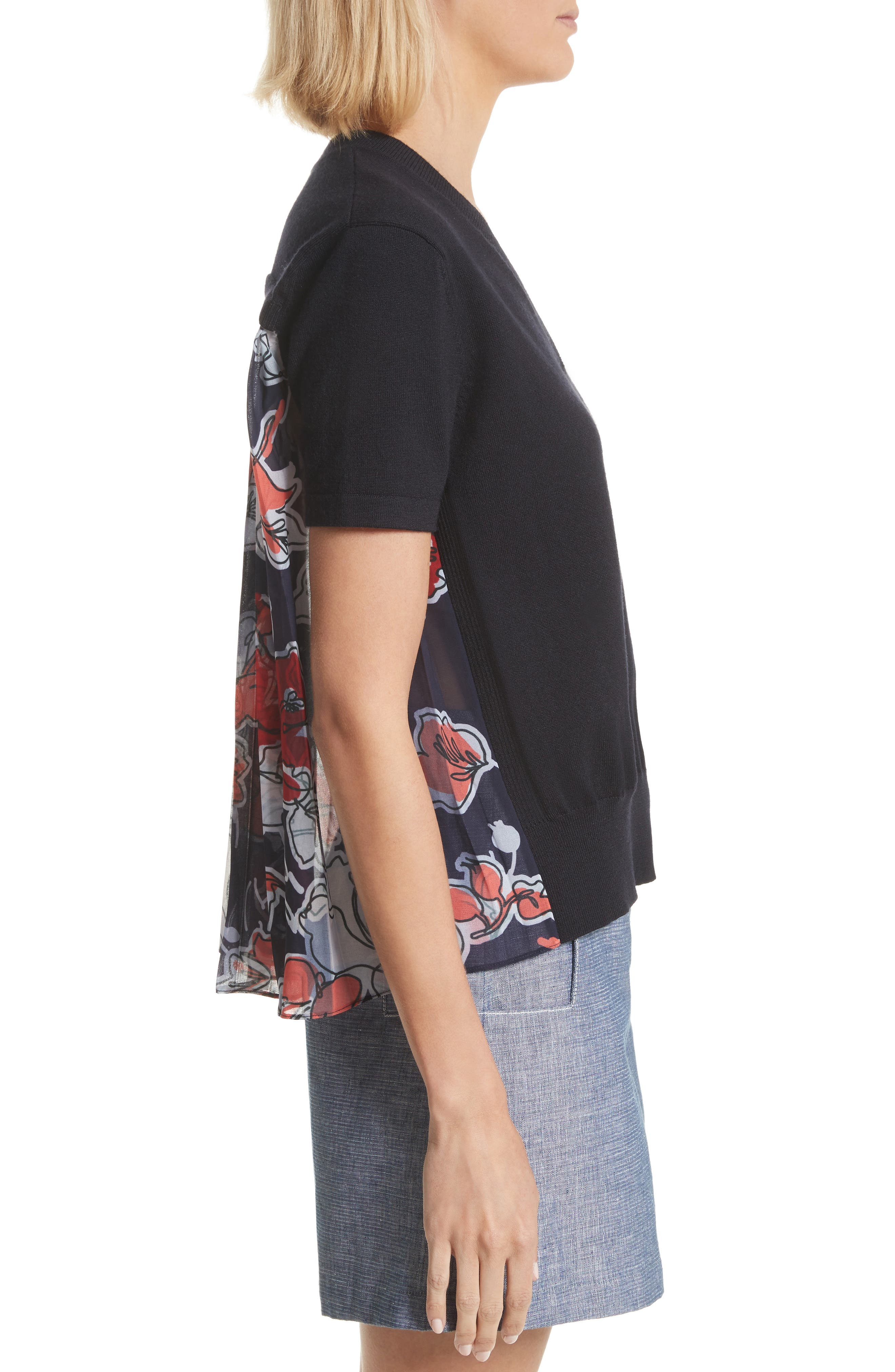 Pleated Back Combo Sweater,                             Alternate thumbnail 3, color,                             Midnight Multi