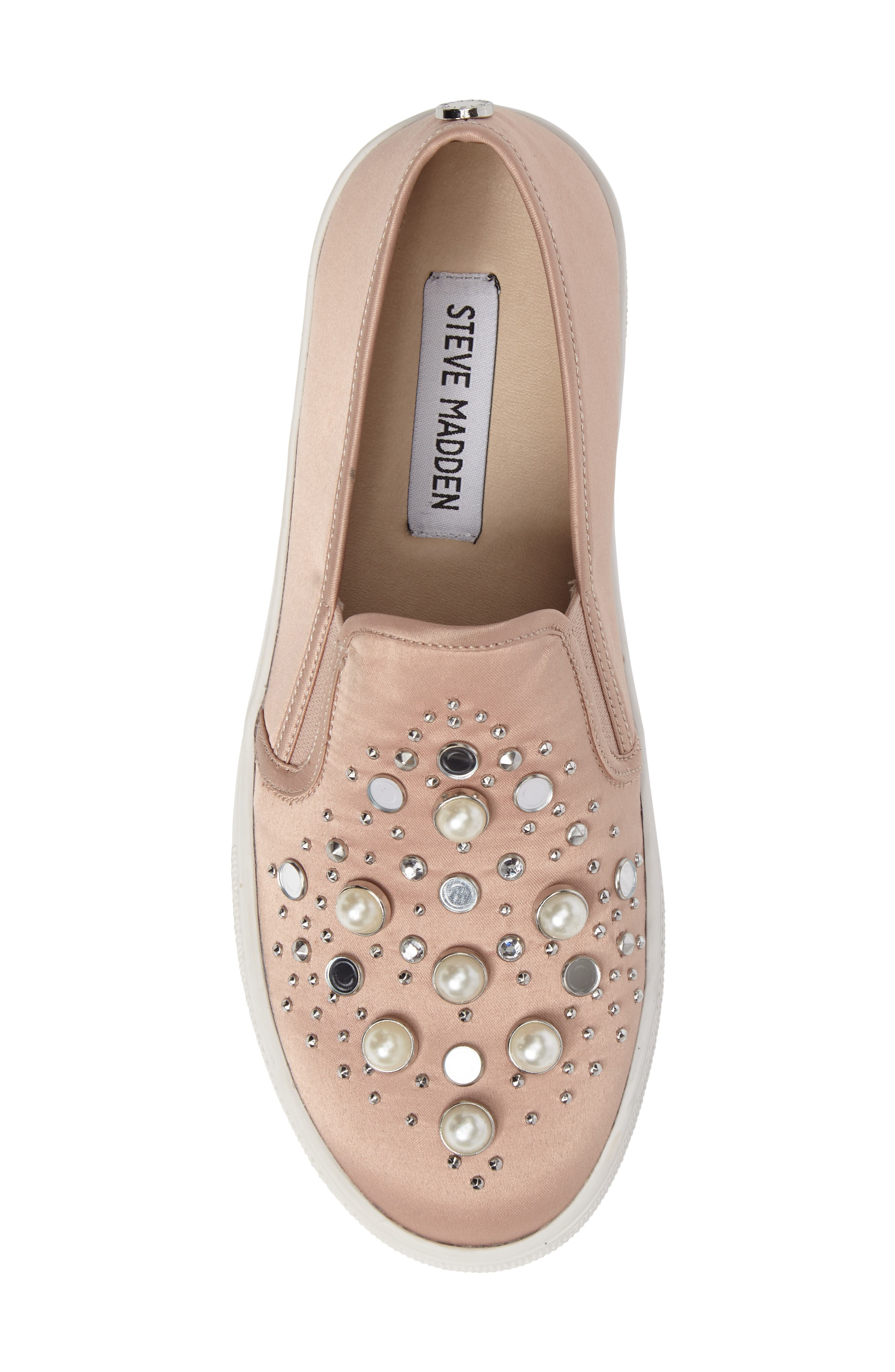 Glade Embellished Slip-On Sneaker,                             Alternate thumbnail 5, color,                             Blush Satin