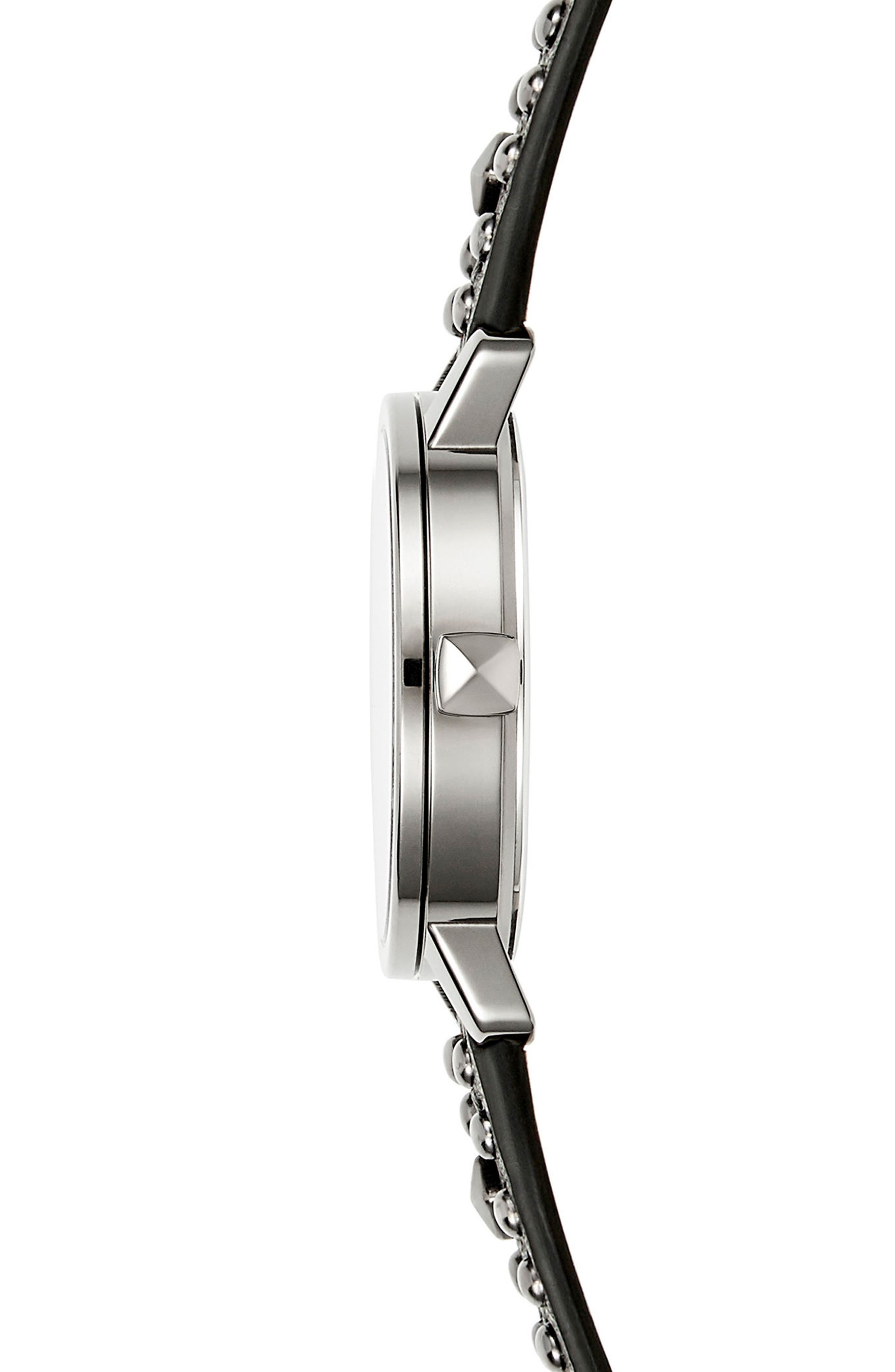 BFFL Studded Leather Strap Watch, 36mm,                             Alternate thumbnail 3, color,                             Black/ Silver