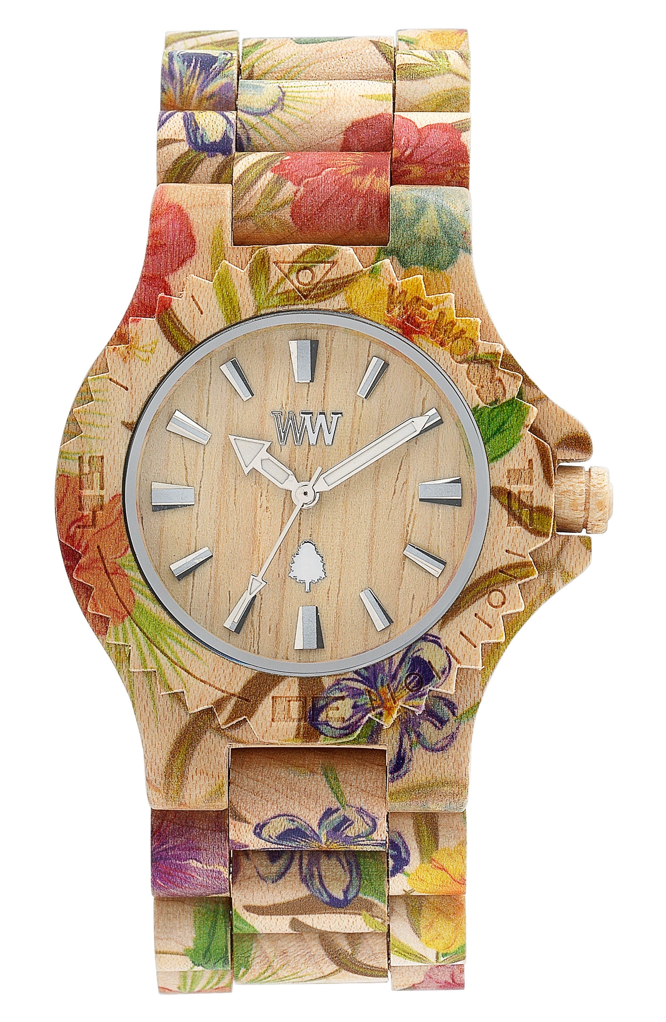 Date Wood Bracelet Watch, 42mm,                         Main,                         color, Beige/ Floral