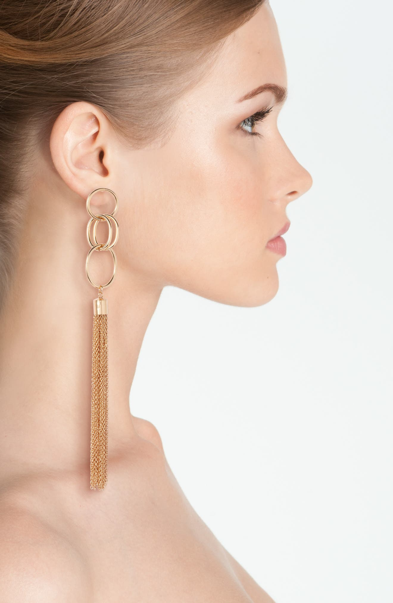 Chain Tassel Drop Earrings,                             Alternate thumbnail 2, color,                             Gold