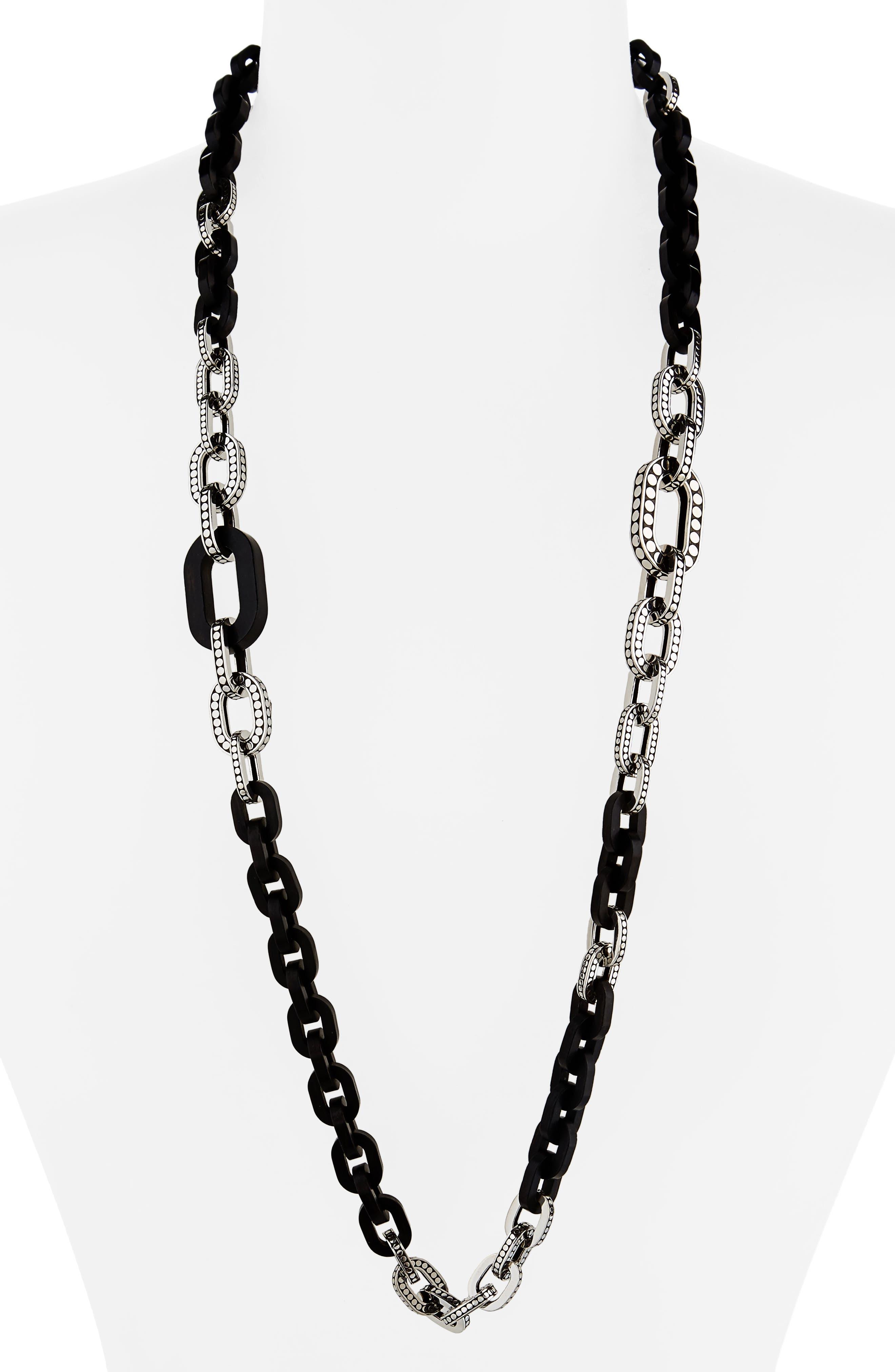 Dot Long Link Necklace,                             Main thumbnail 1, color,                             Silver/ Ebony Wood