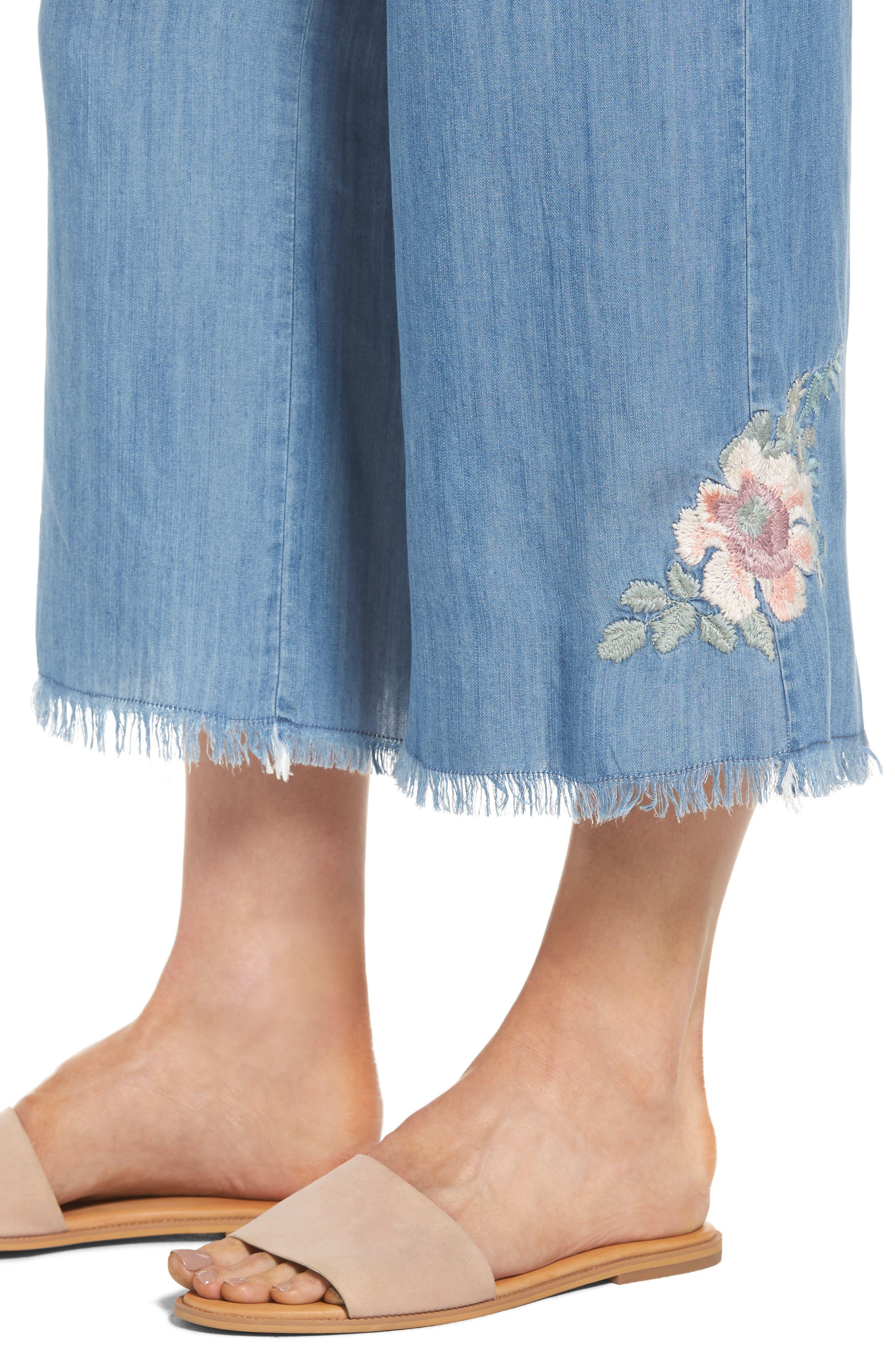 Alternate Image 4  - BILLY T Embroidered Denim Wide Leg Crop Pants