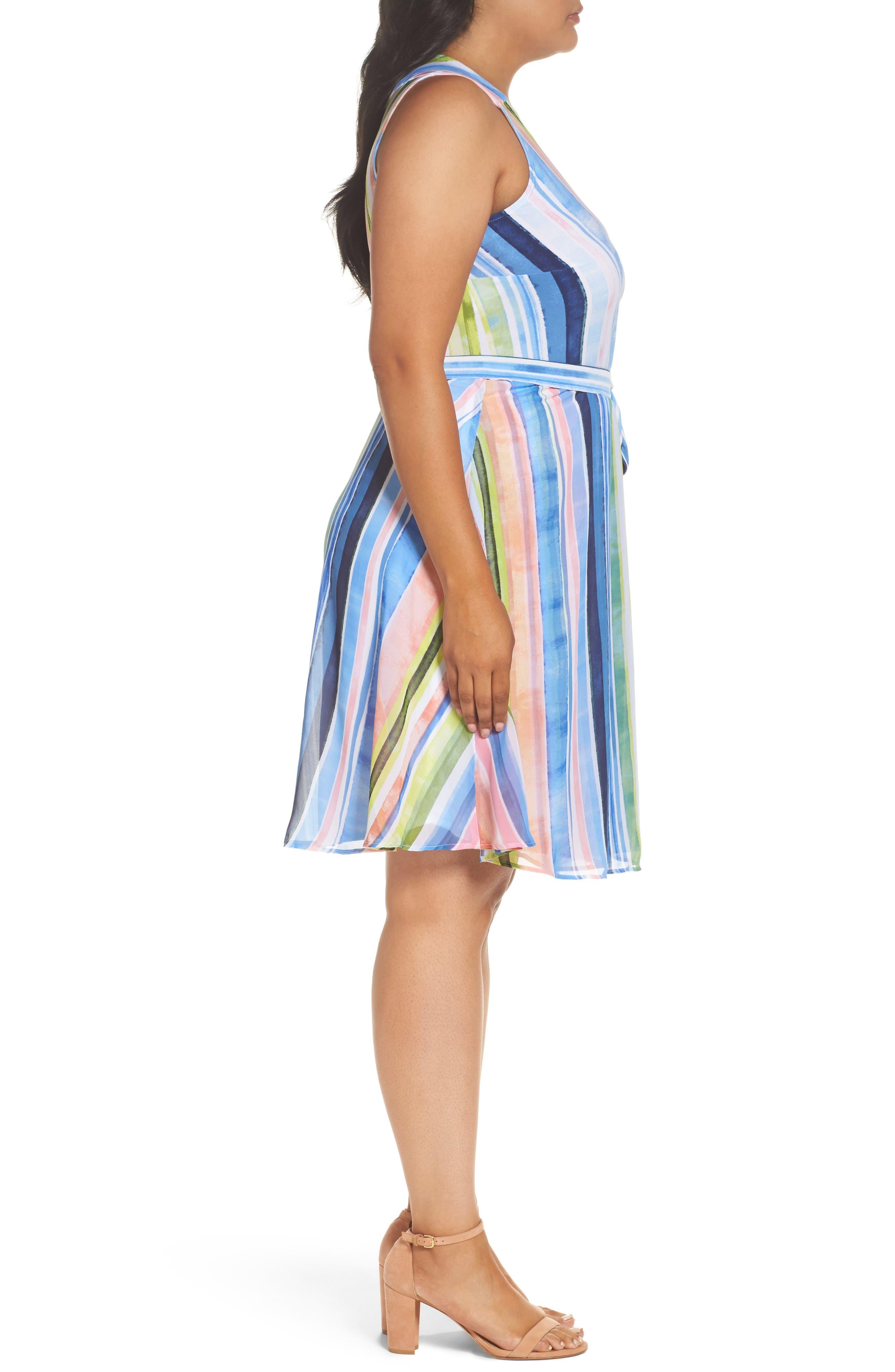Stripe Faux Wrap Dress,                             Alternate thumbnail 3, color,                             Multi