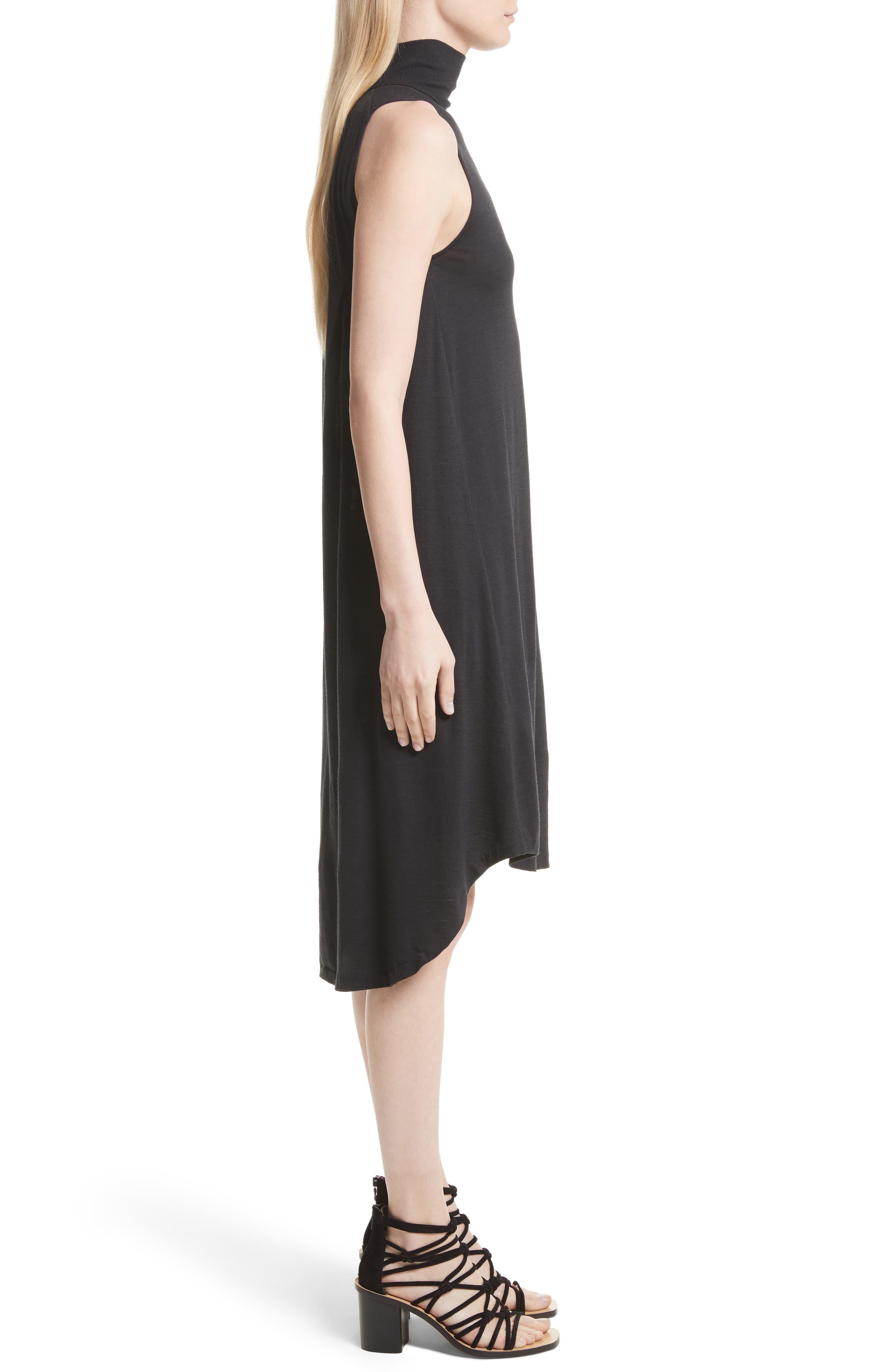 Nova Wool Turtleneck Dress,                             Alternate thumbnail 3, color,                             Black
