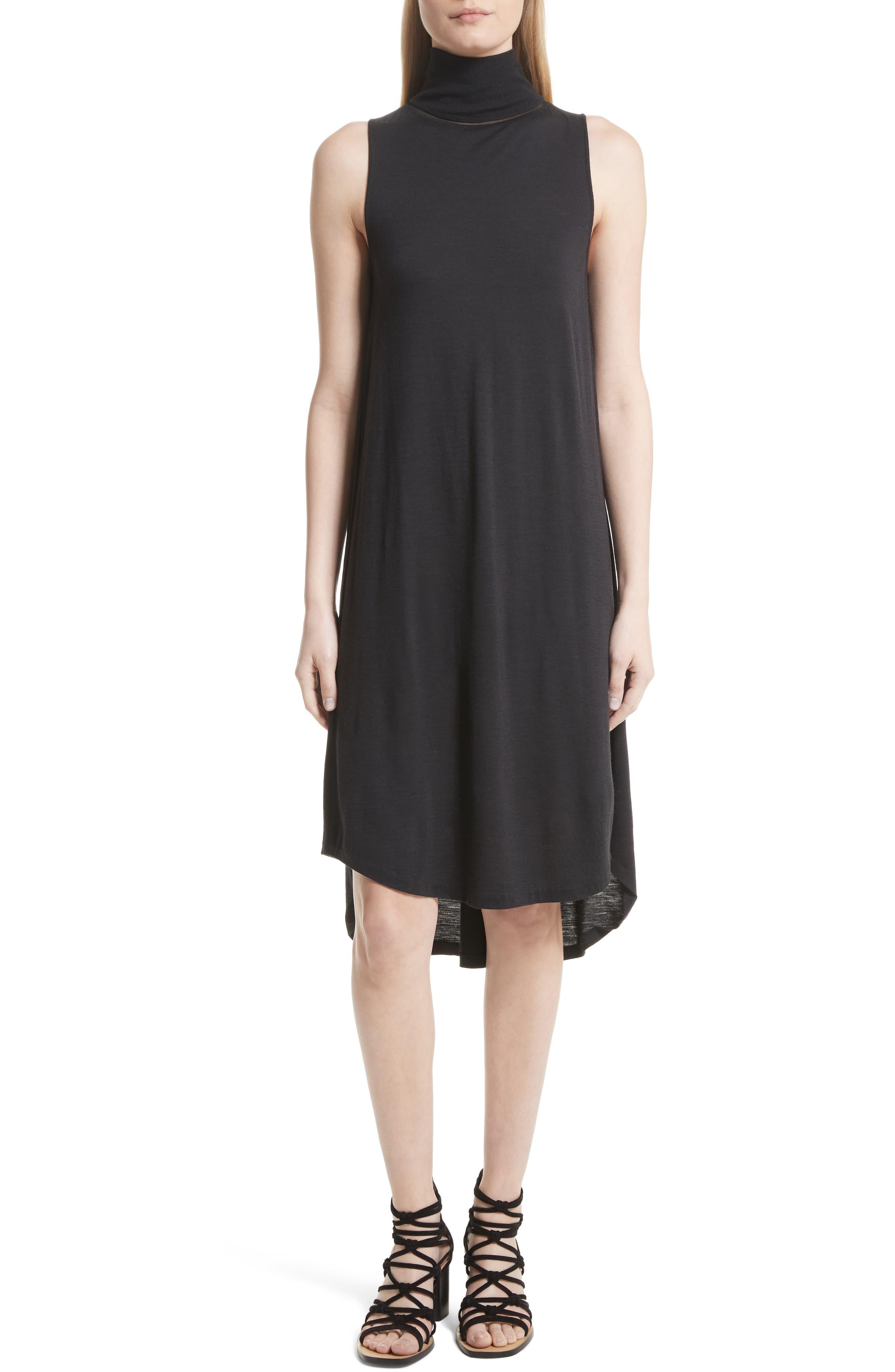 Nova Wool Turtleneck Dress,                             Main thumbnail 1, color,                             Black