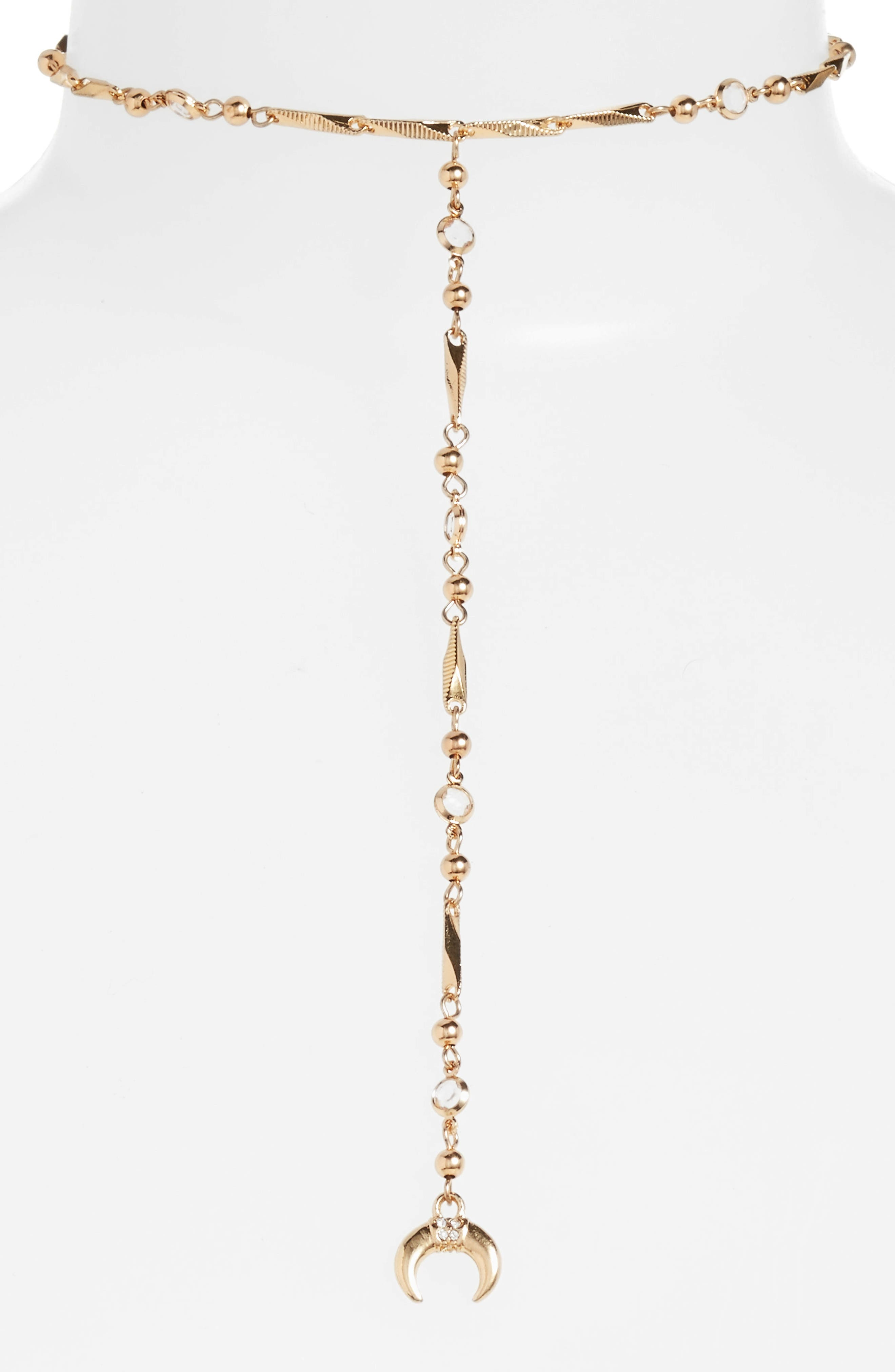 Lariat Necklace,                         Main,                         color, Gold