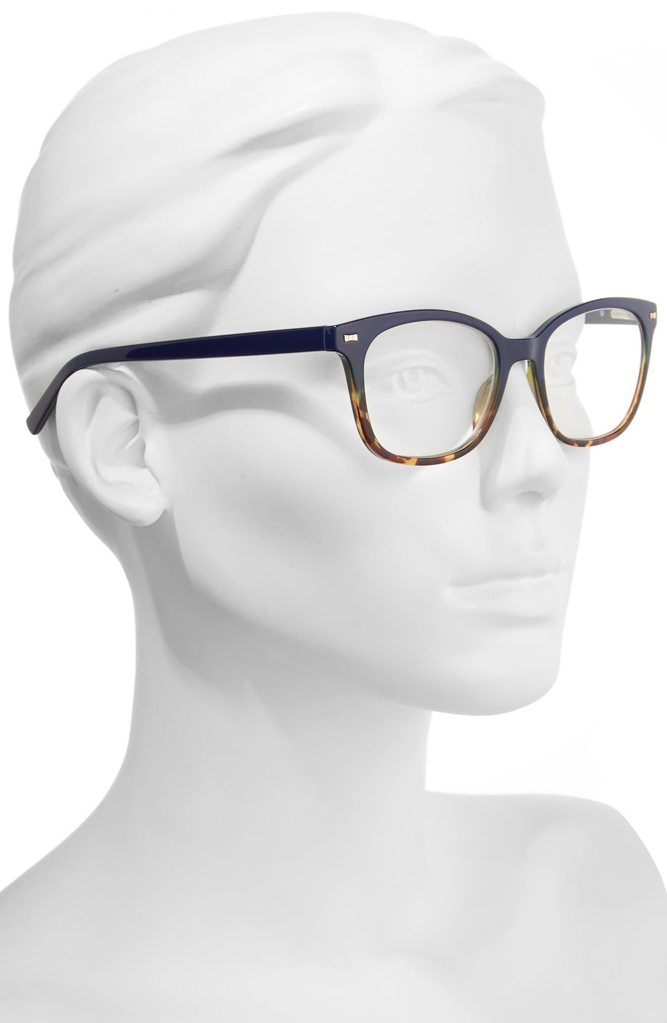 keadra 51mm reading glasses,                             Alternate thumbnail 2, color,                             Blue Havana