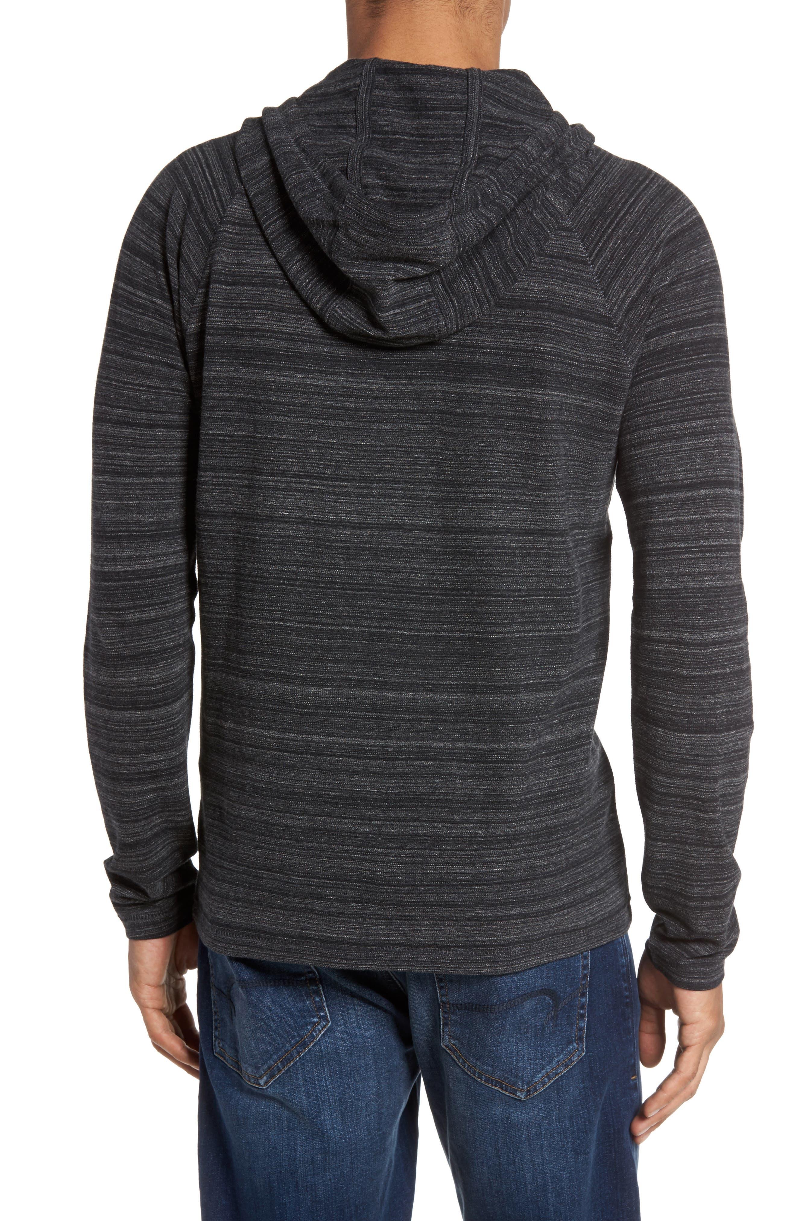 Striated Knit Hoodie,                             Alternate thumbnail 2, color,                             Black