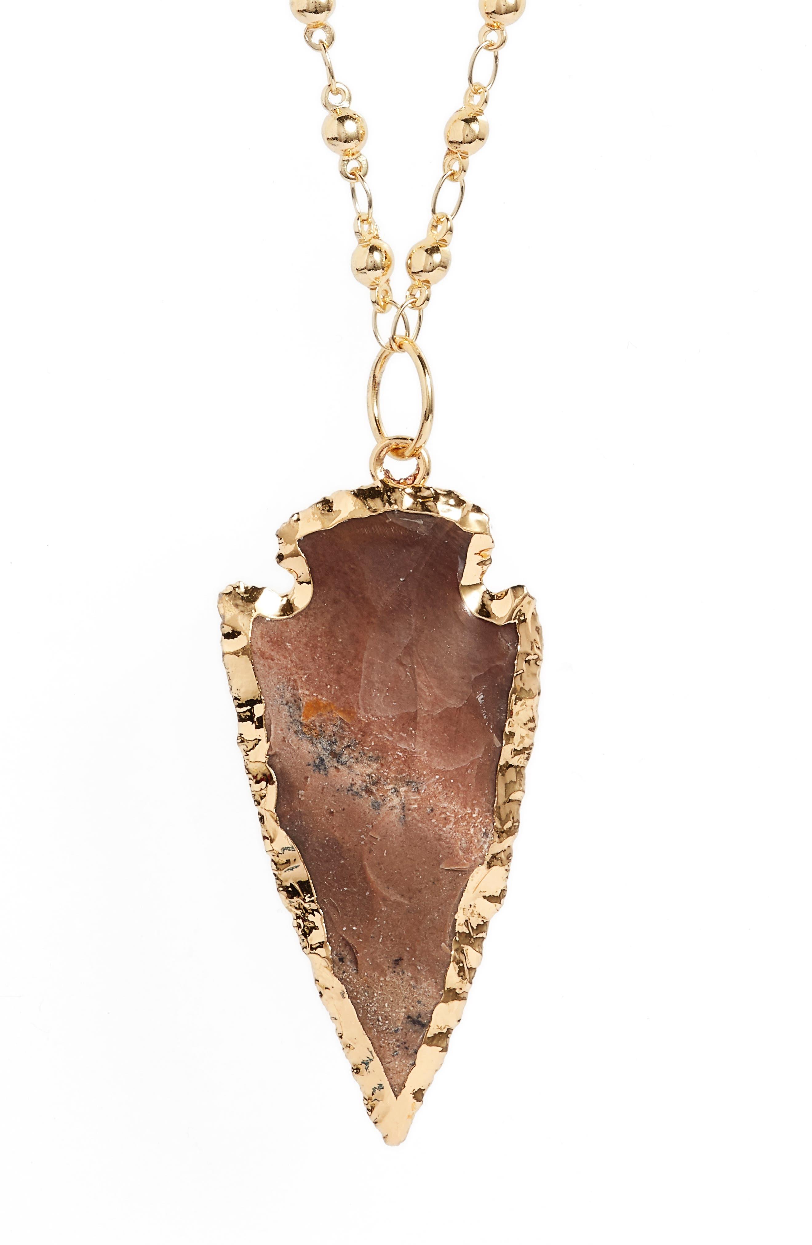 Sahara Arrowhead Necklace,                             Alternate thumbnail 2, color,                             Speckled