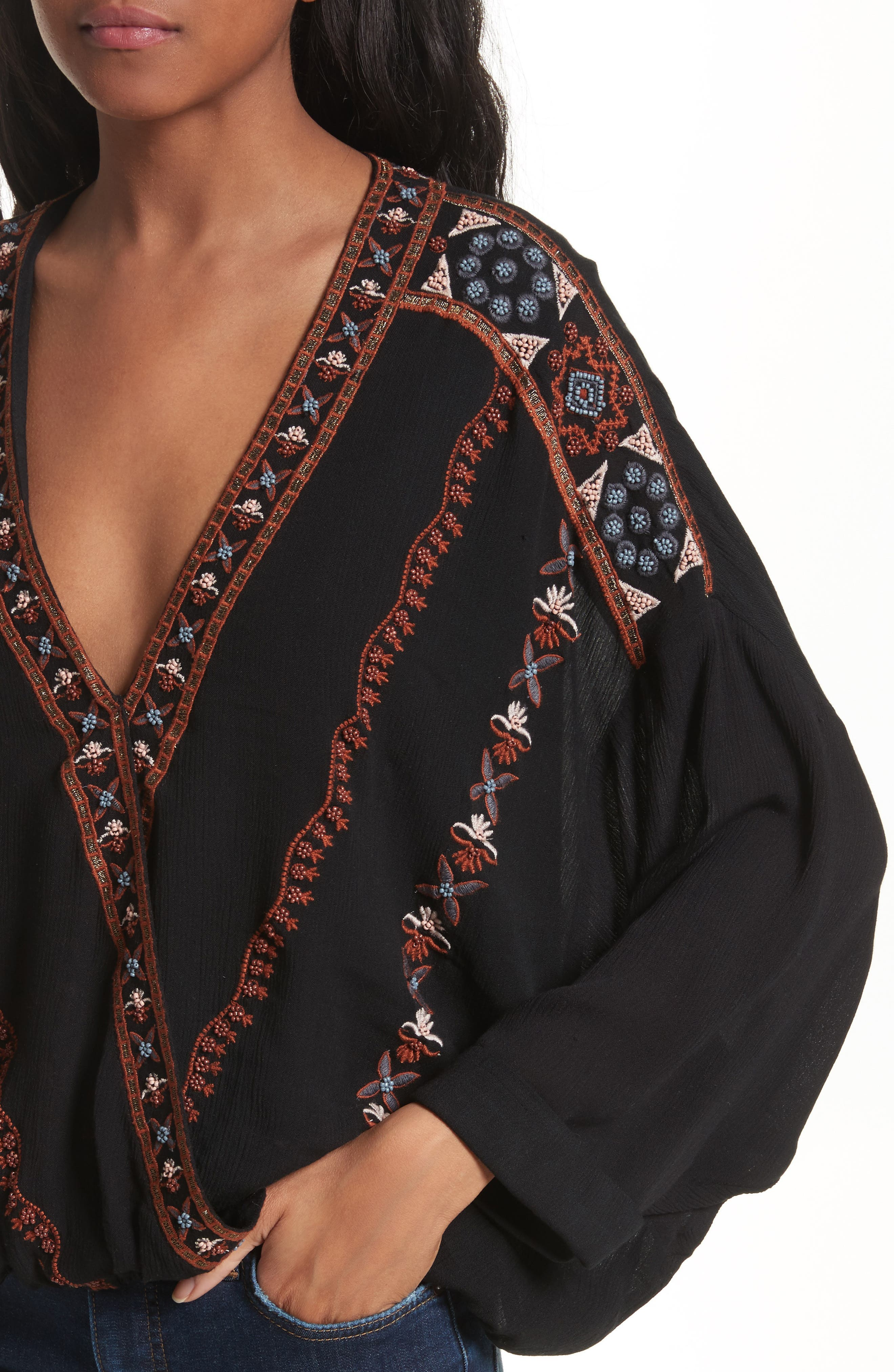 Crescent Moon Embroidered Blouse,                             Alternate thumbnail 4, color,                             Black