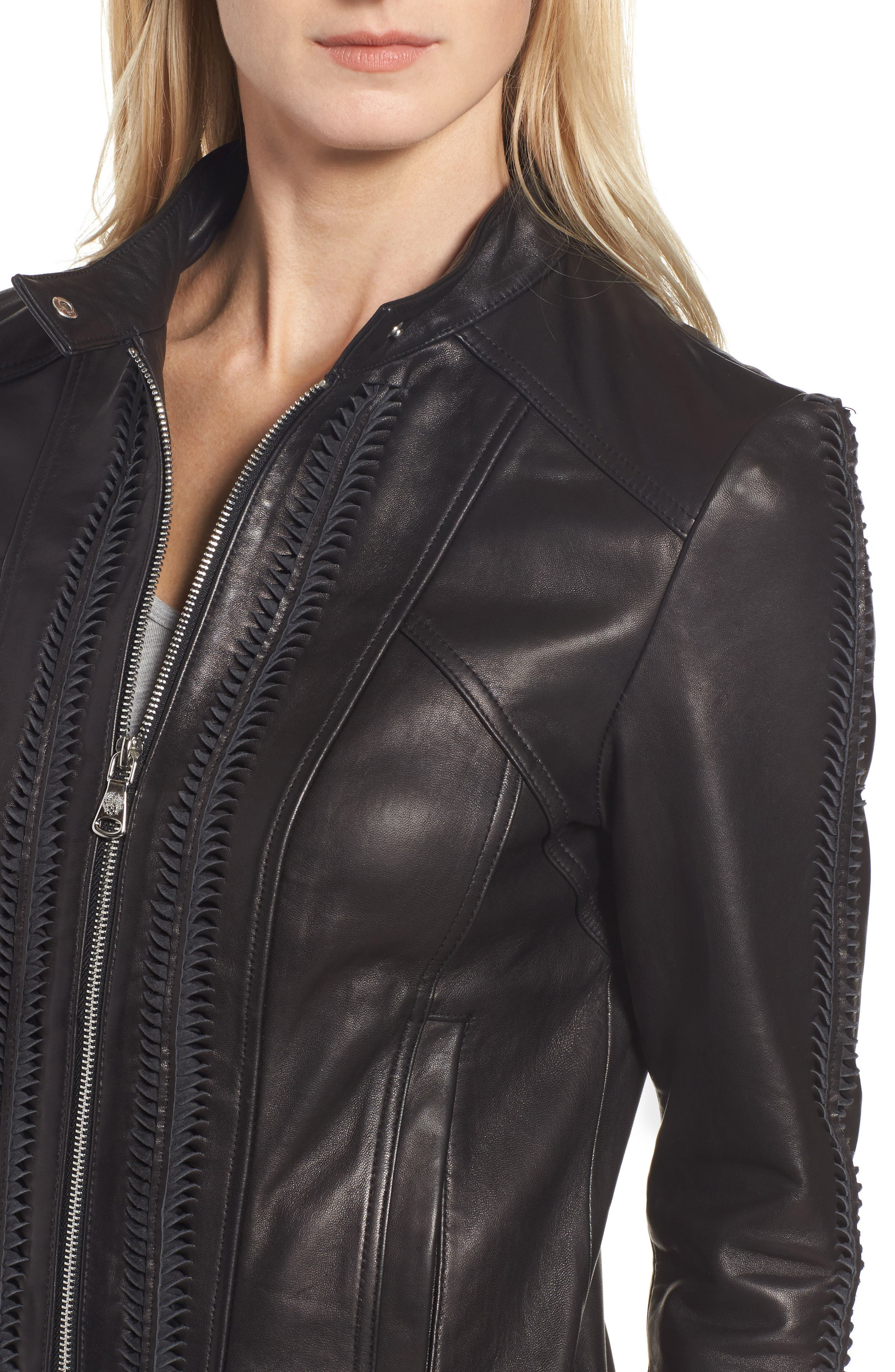 Braid Detail Leather Jacket,                             Alternate thumbnail 4, color,                             Black