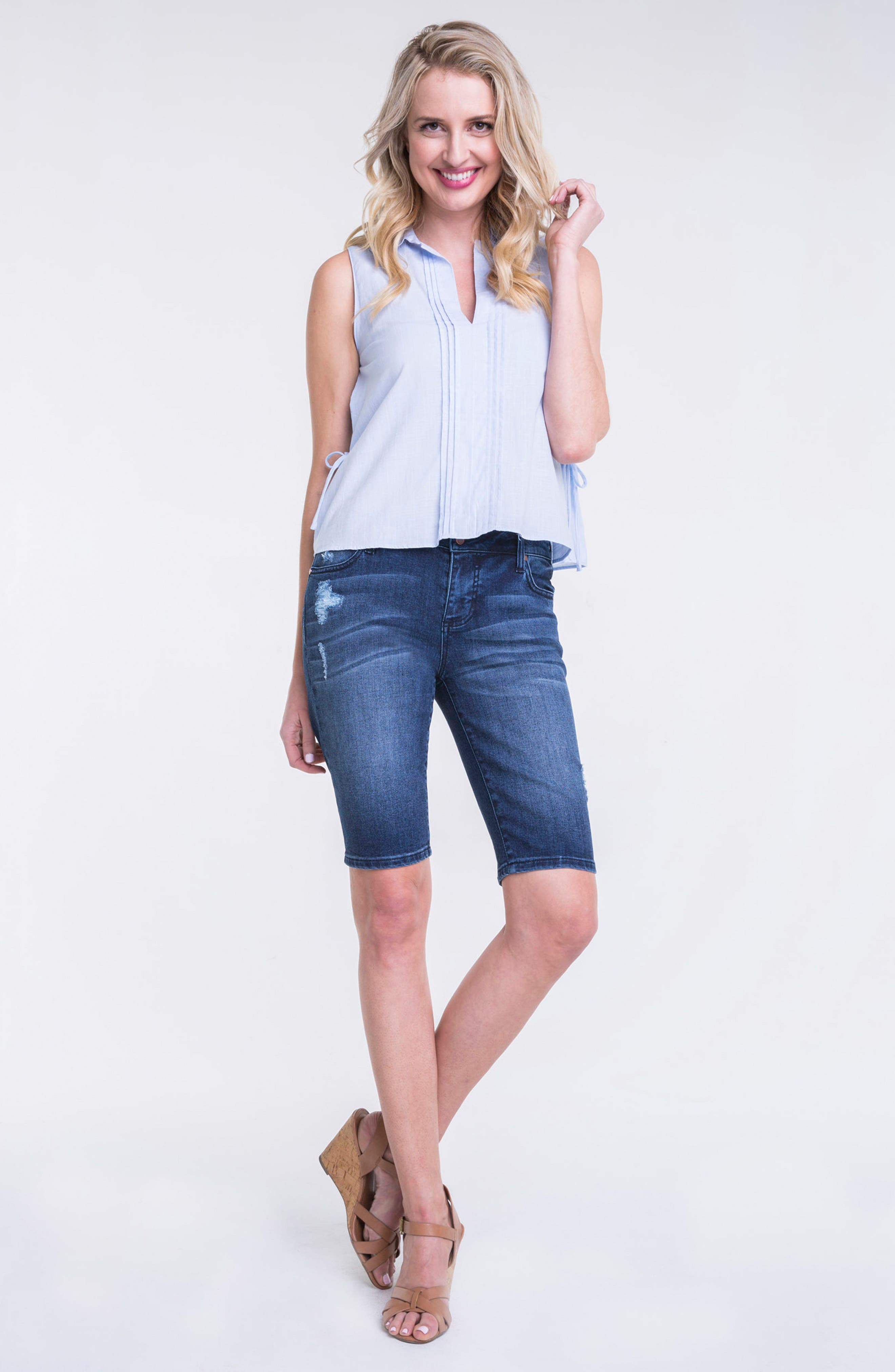 Alternate Image 2  - Liverpool Jeans Company Bobbi Denim Bermuda Shorts