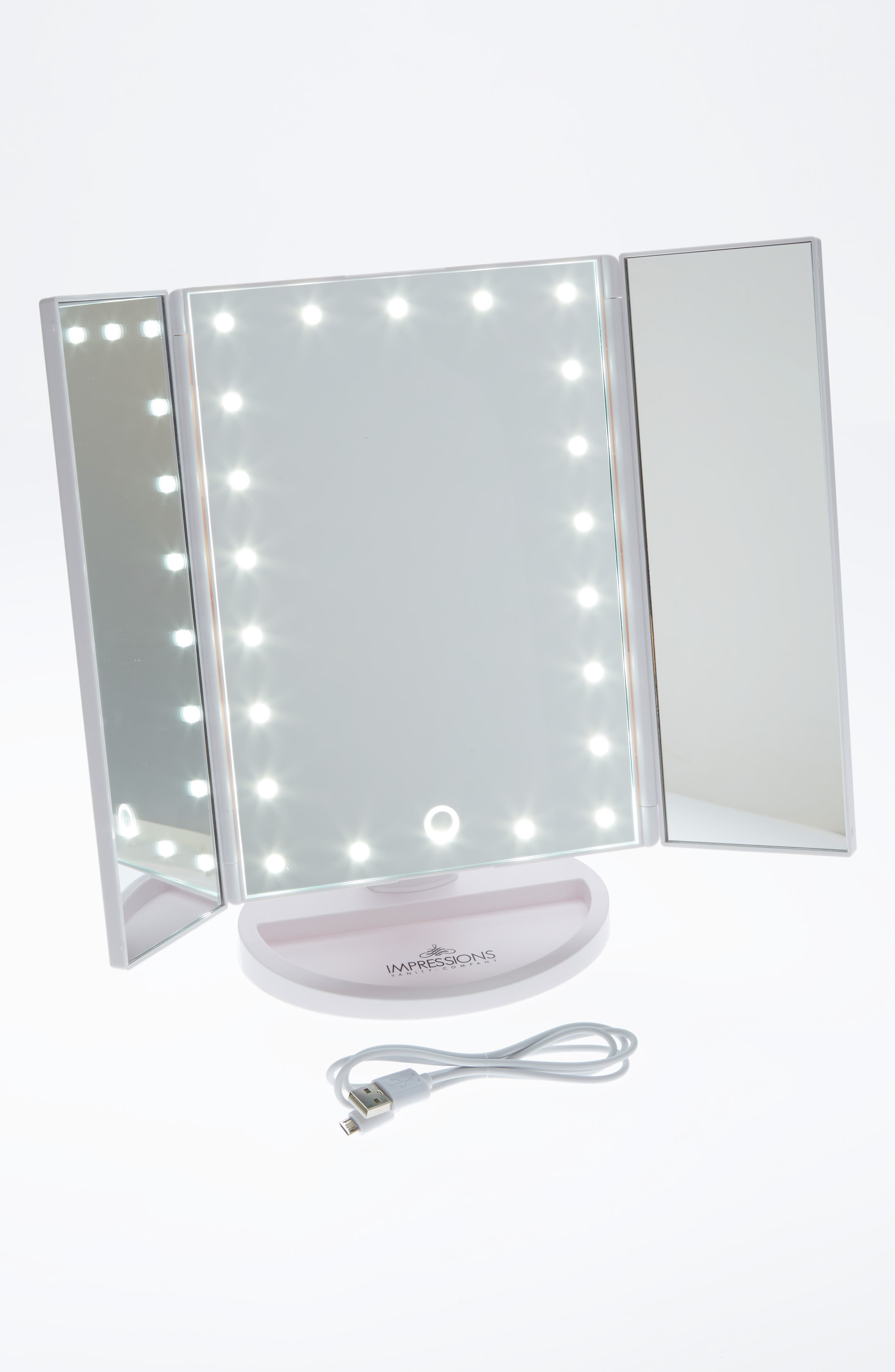 Touch 3.0 LED Trifold Makeup Mirror,                         Main,                         color, White