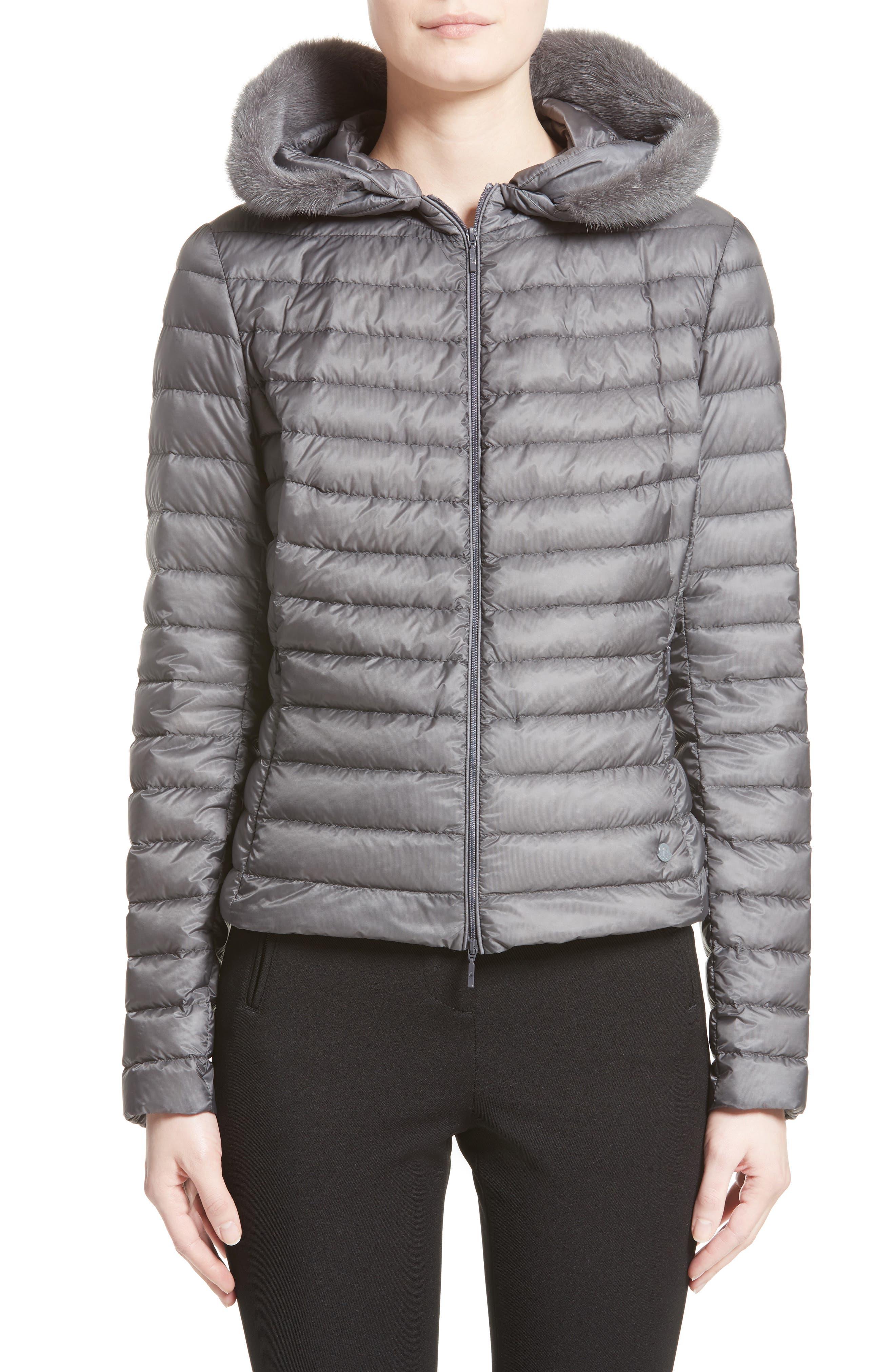 Main Image - Moncler Sorbus Genuine Mink Fur Trim Quilted Jacket