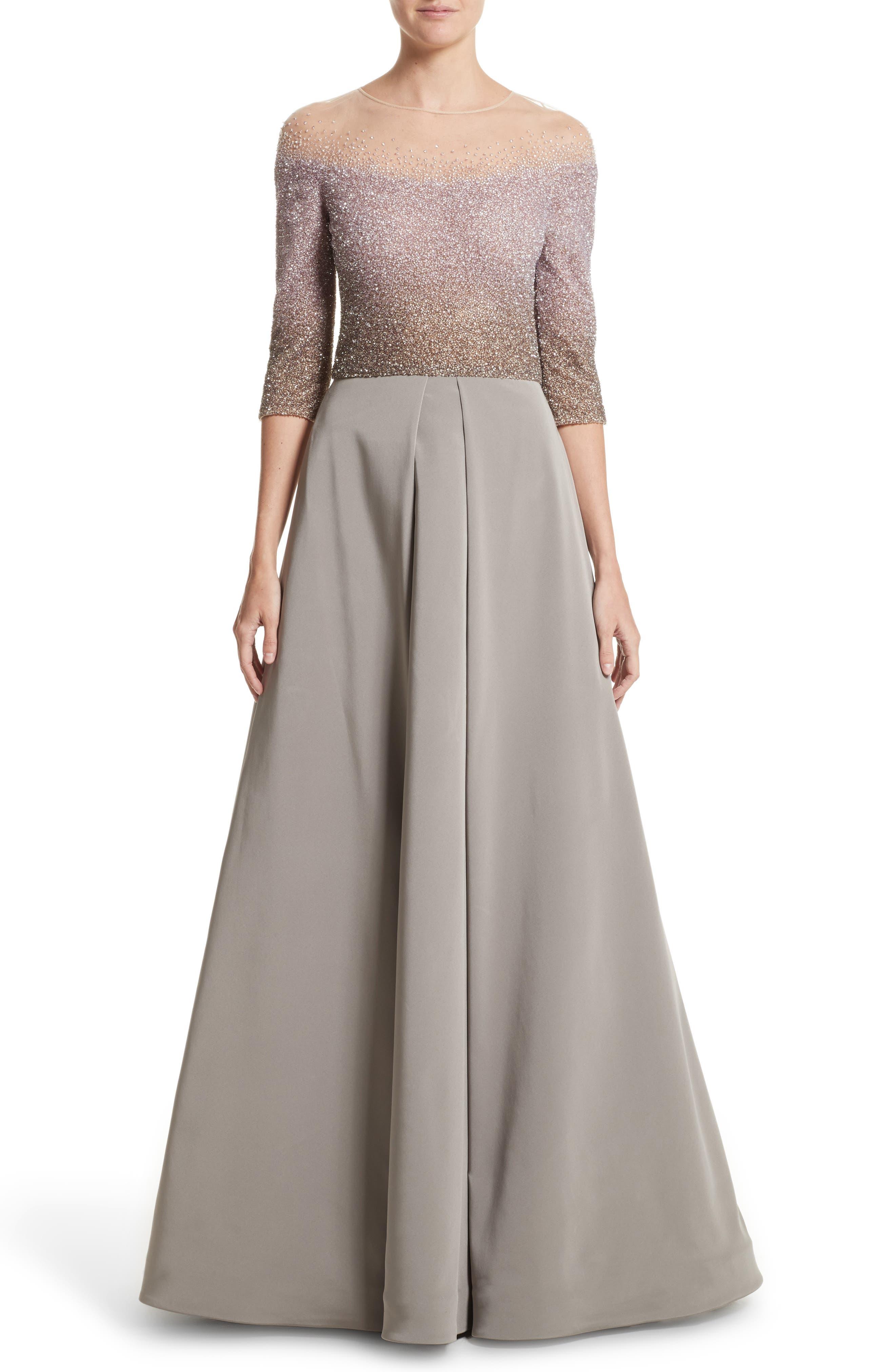 Pamella Roland Illusion Sequin & Faille A-Line Gown
