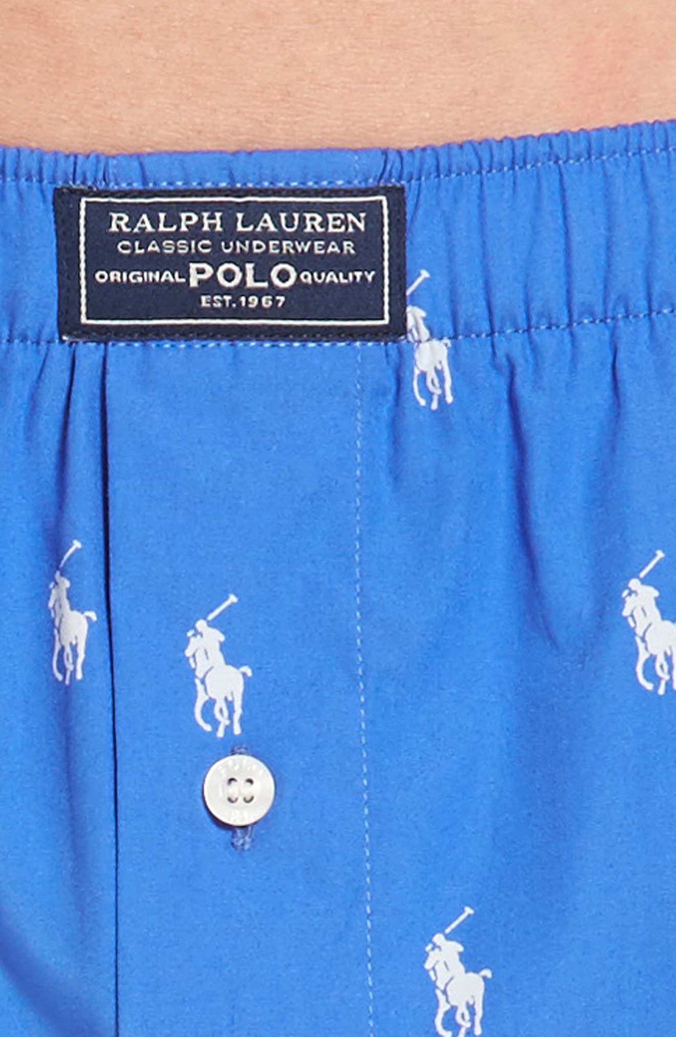 Polo Player Woven Cotten Boxers,                             Alternate thumbnail 4, color,                             Racer Blue