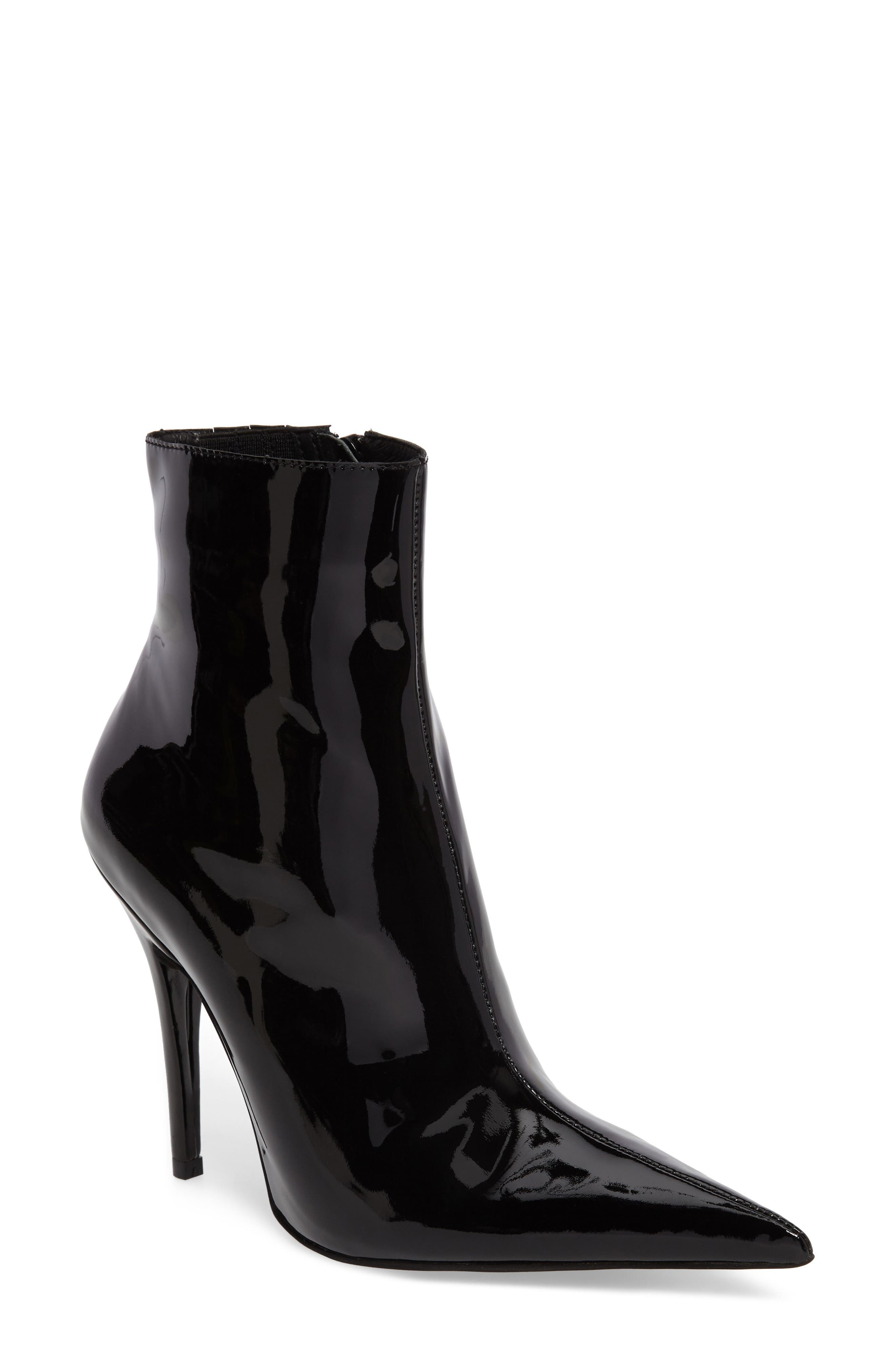 Vedette Pointy Toe Booties,                             Main thumbnail 1, color,                             Black Patent
