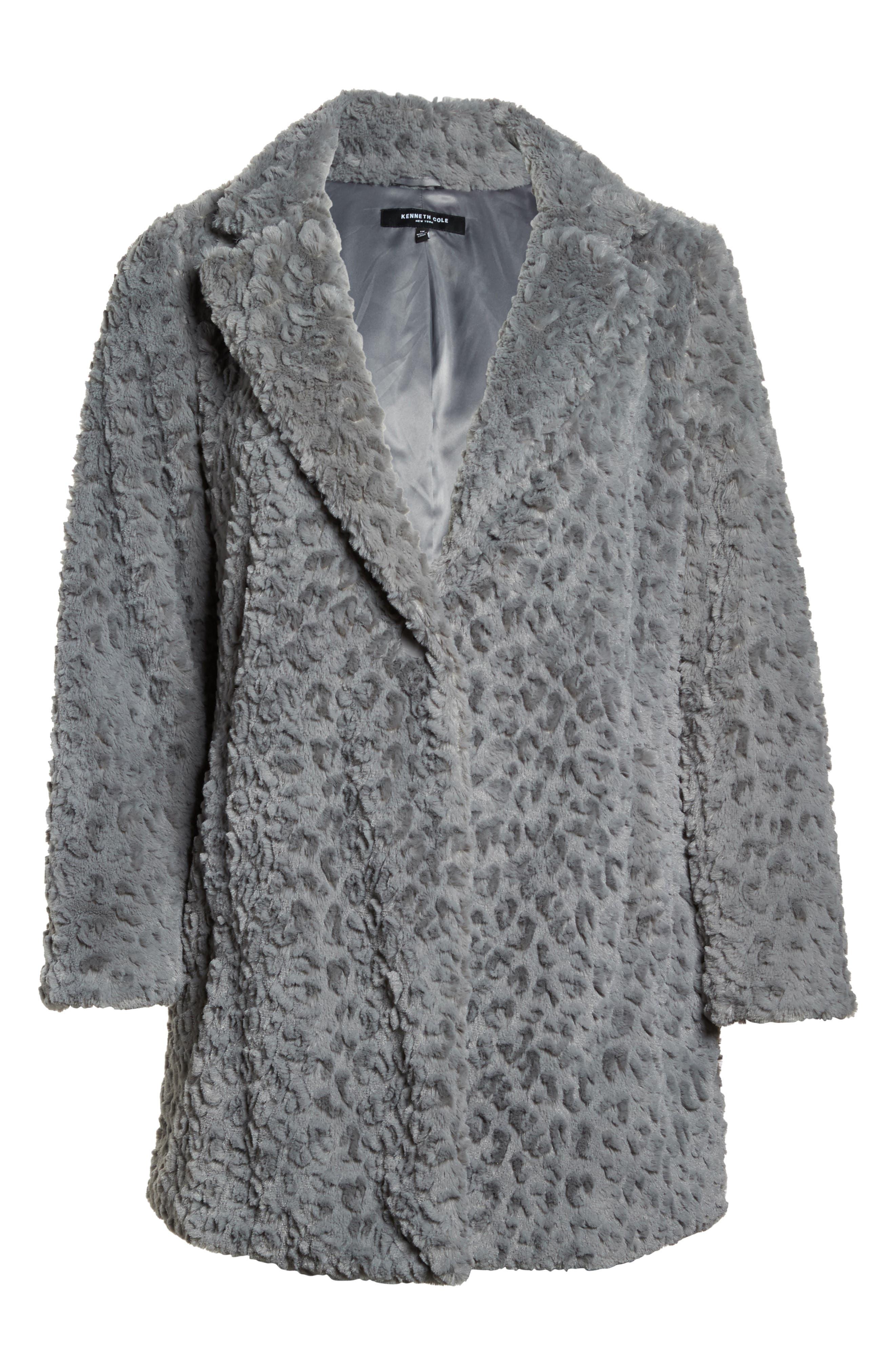 Faux Fur Jacket,                             Alternate thumbnail 6, color,                             Grey