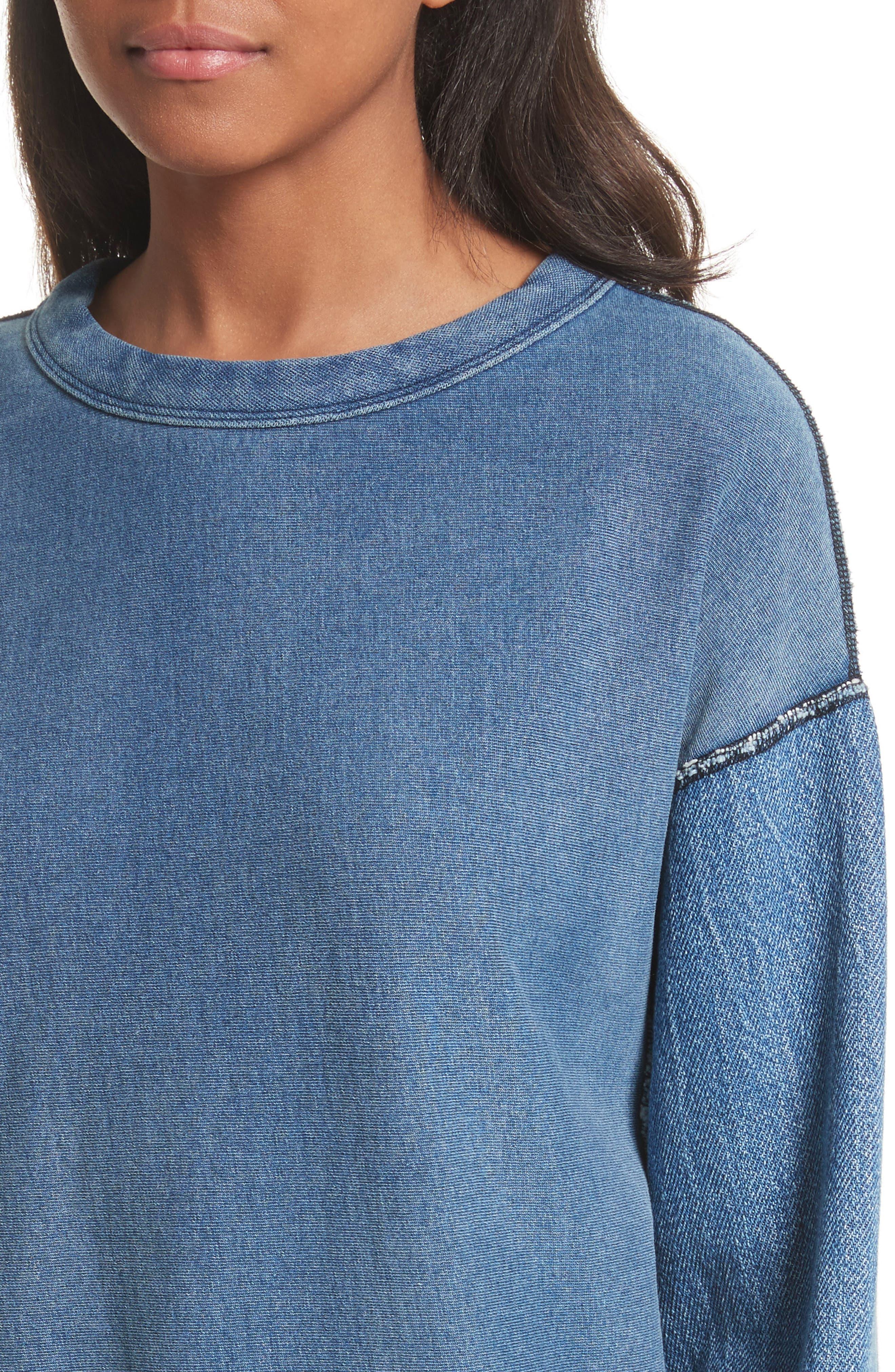 Alternate Image 4  - rag & bone Indigo Baby Racer Sweatshirt
