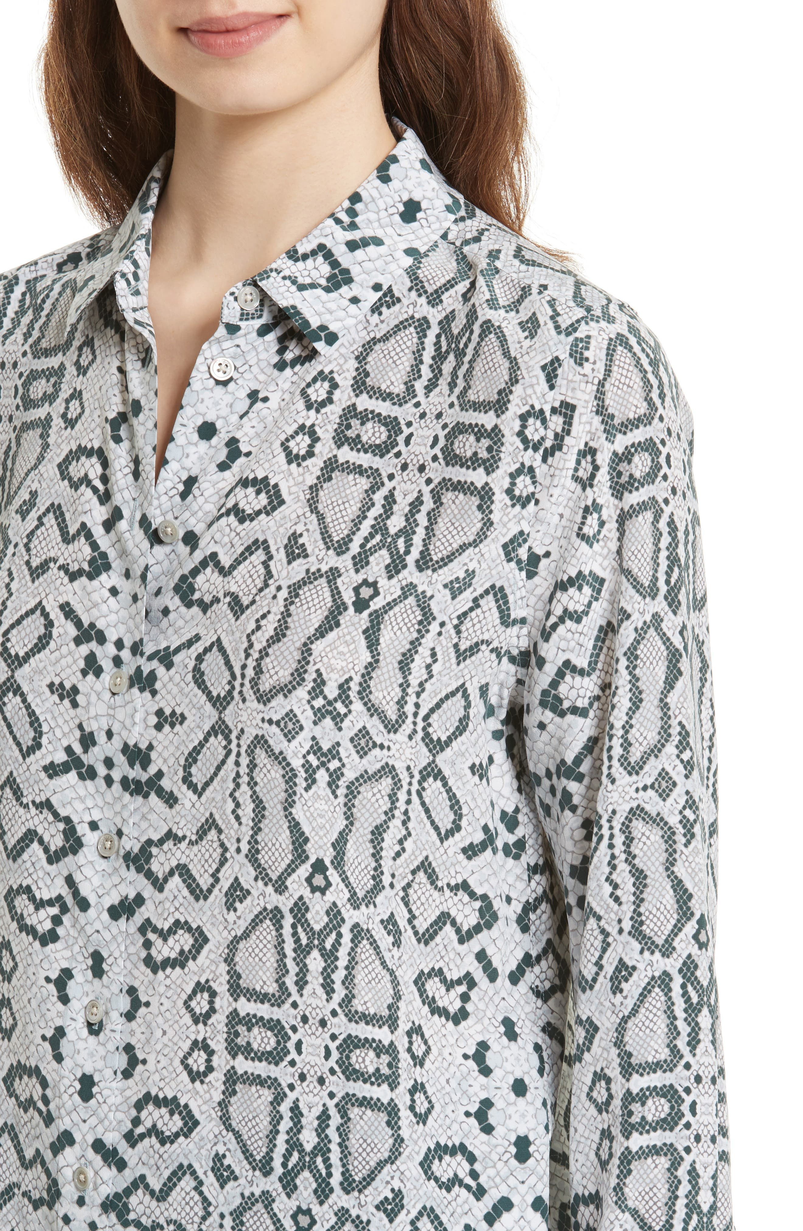 Essential Python Print Silk Shirt,                             Alternate thumbnail 4, color,                             Mineral Grey Multi
