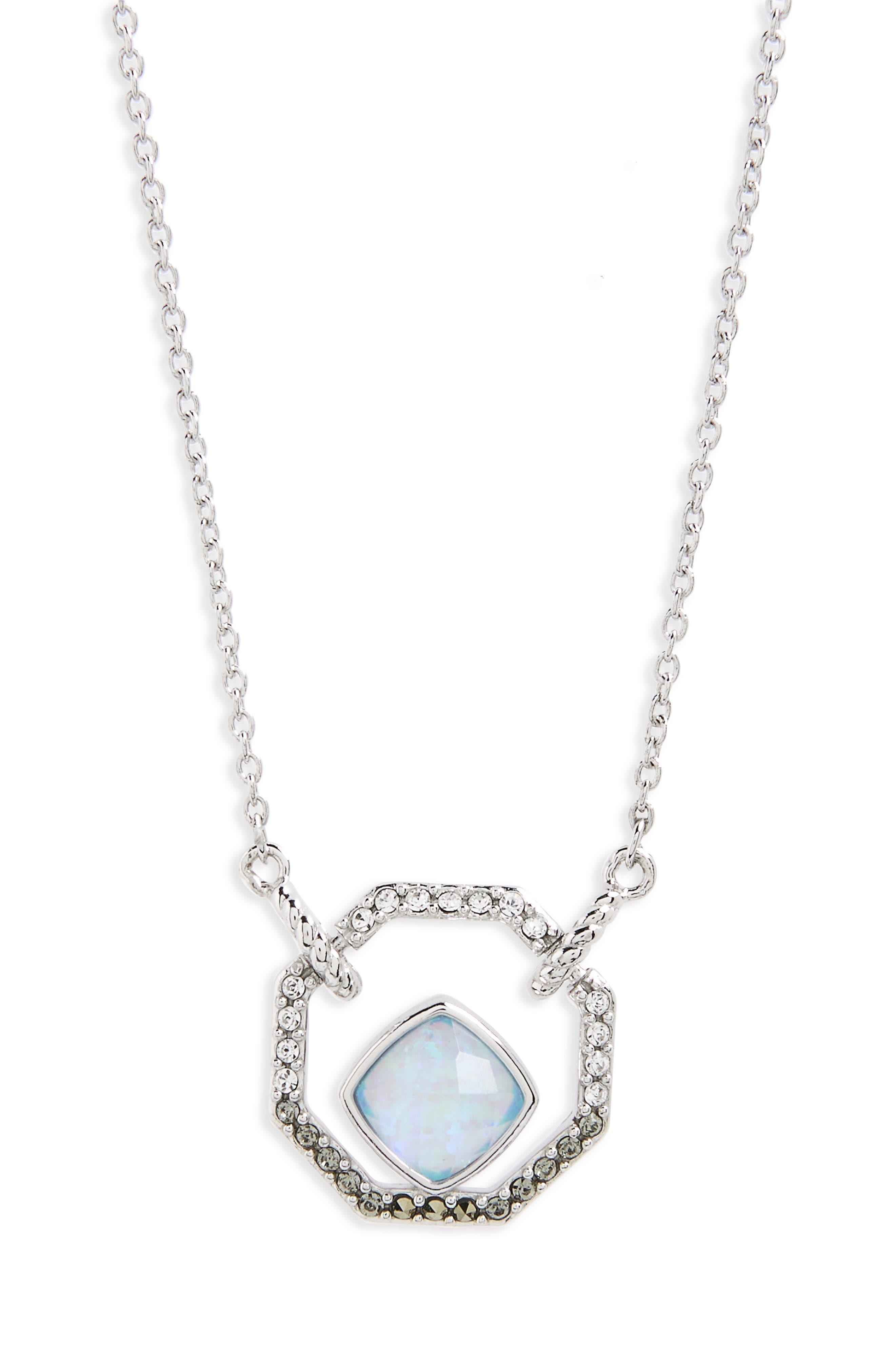 Paradise Pendant Necklace,                         Main,                         color, Opal/ Black Diamond/ Marcasite