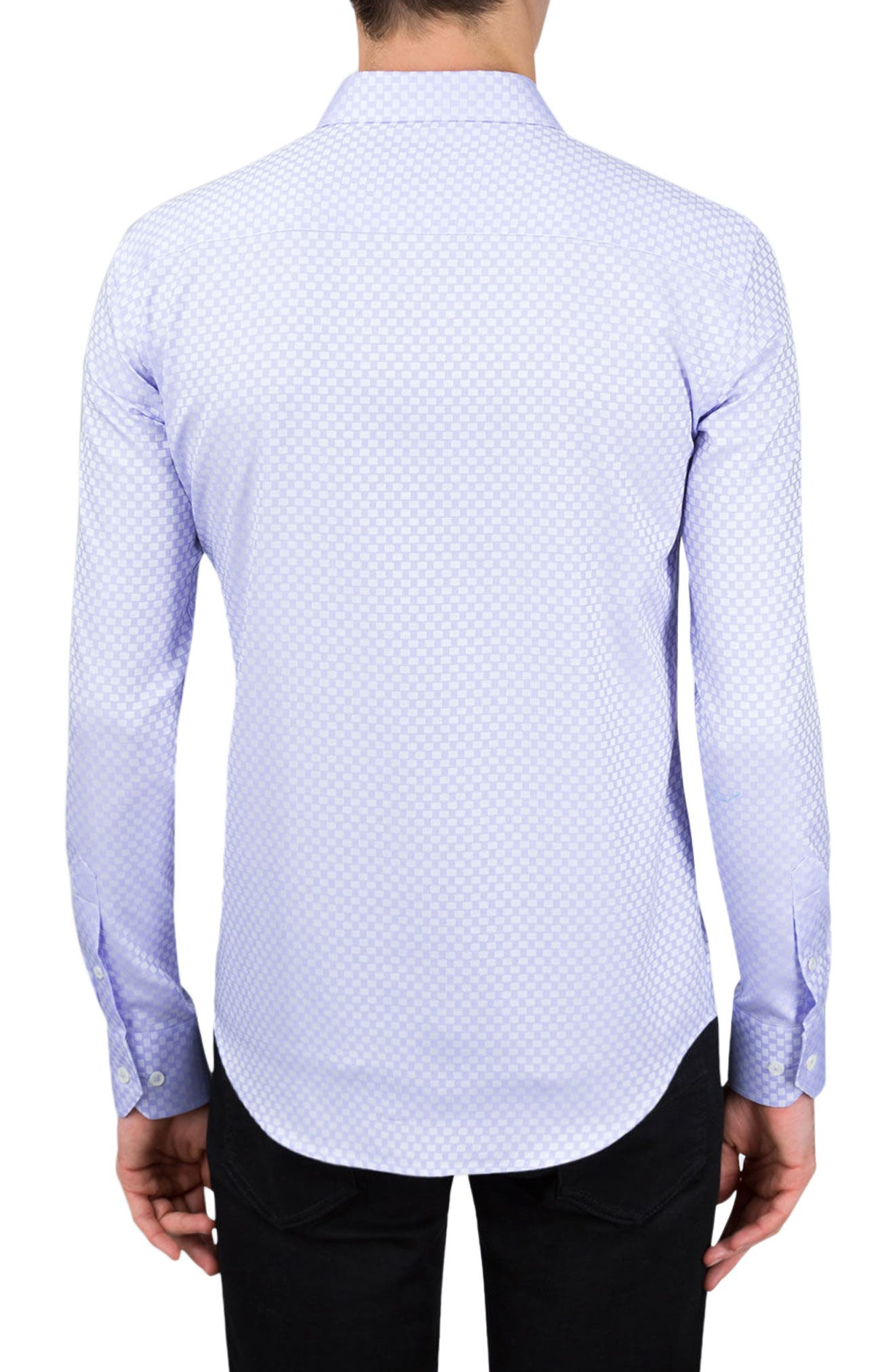 Shaped Fit Rectangle Jacquard Sport Shirt,                             Alternate thumbnail 3, color,                             Lavender